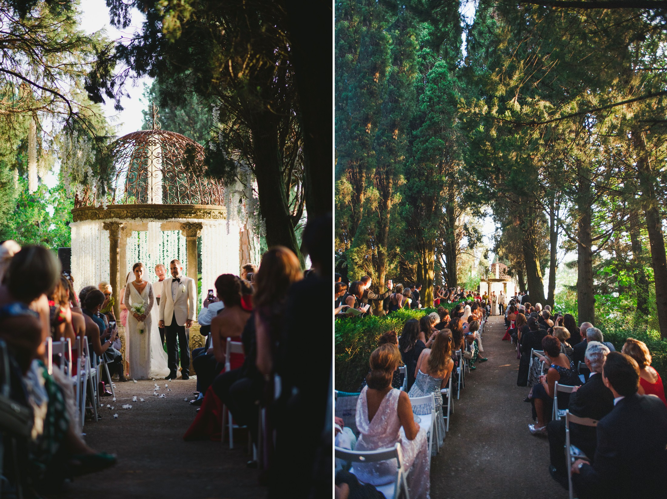 collage wedding ceremony at villa cimbrone