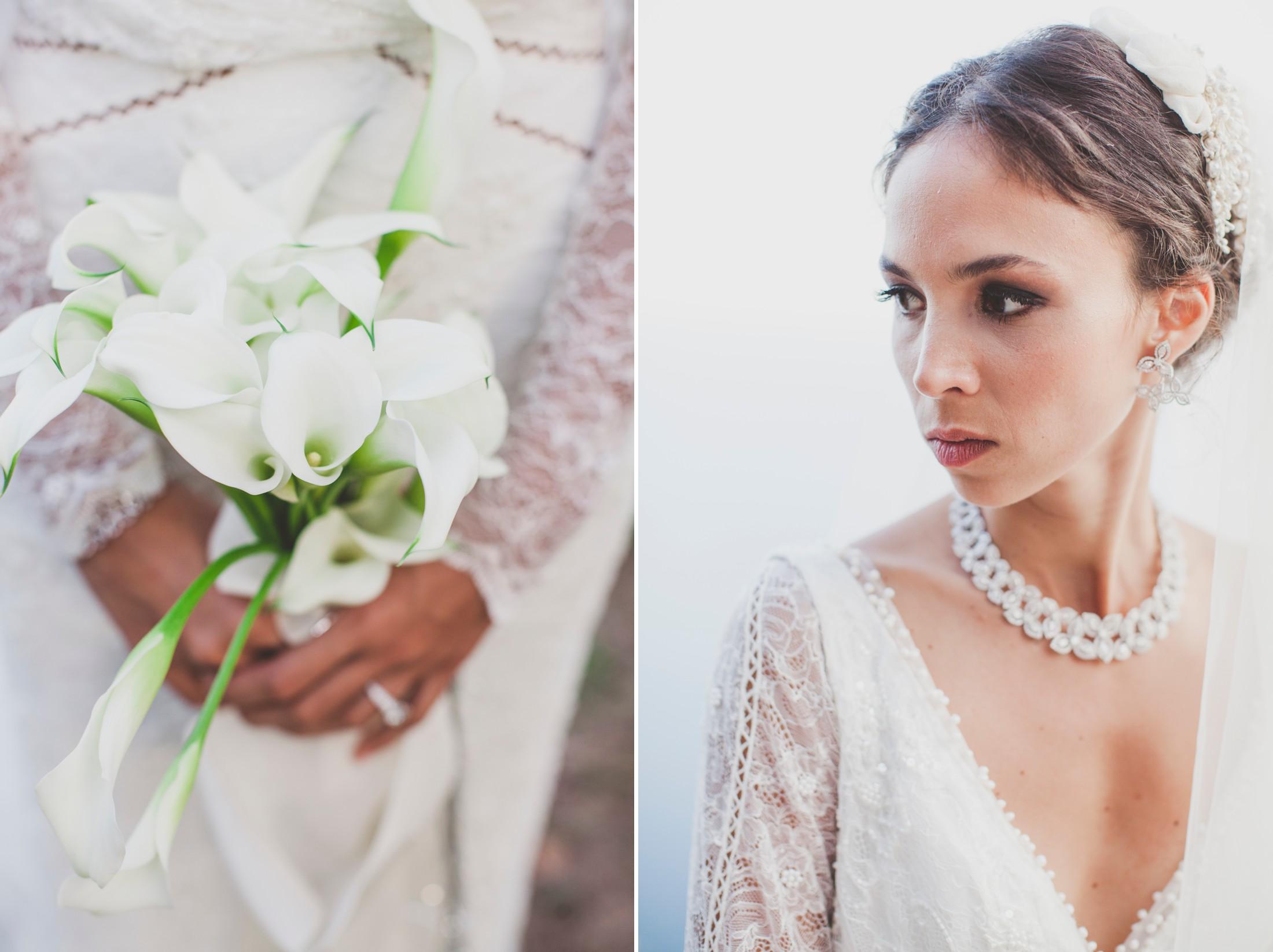 collage bride's portrait and wedding bouquet detail