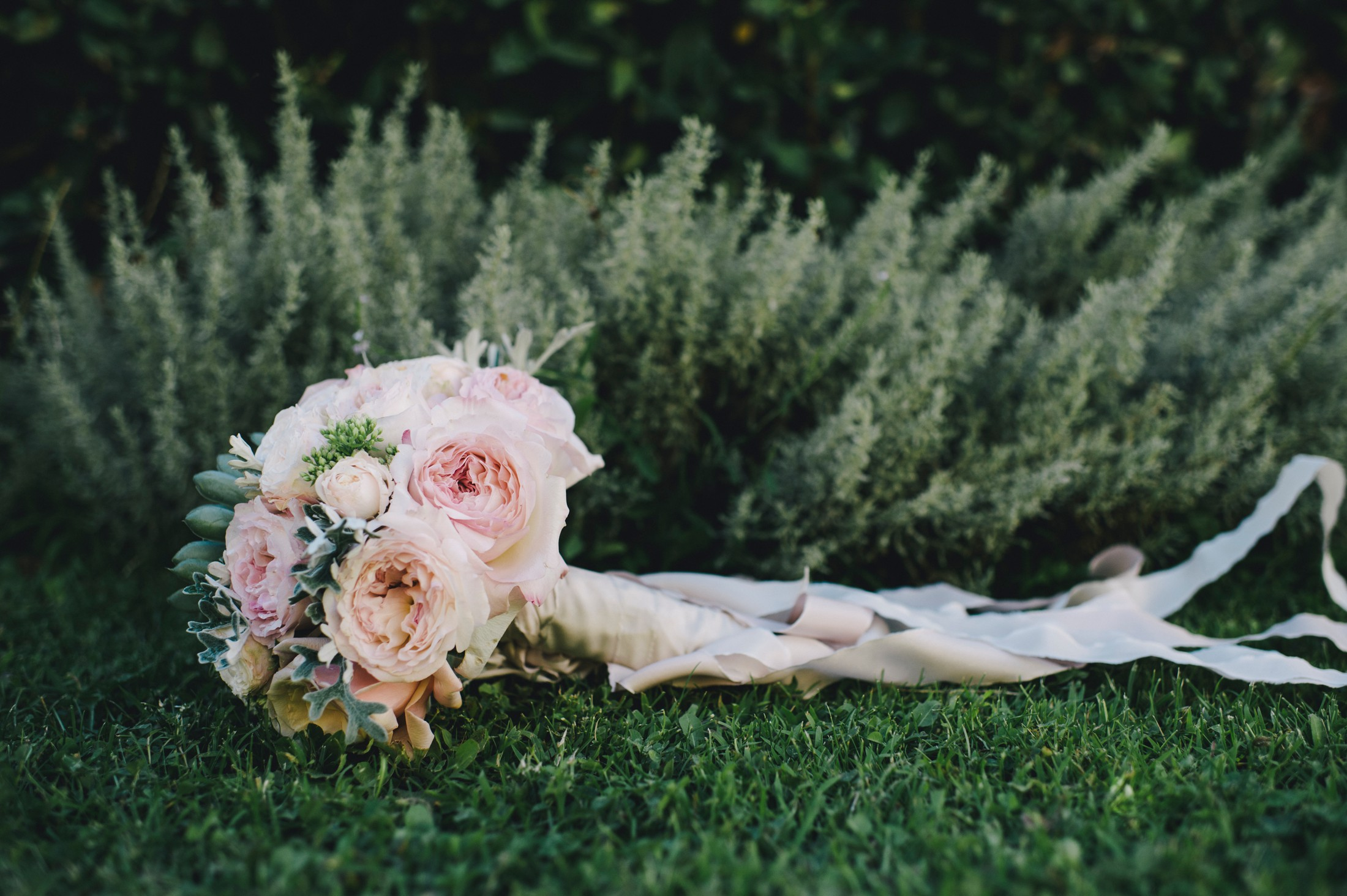 wedding bouquet on the grass