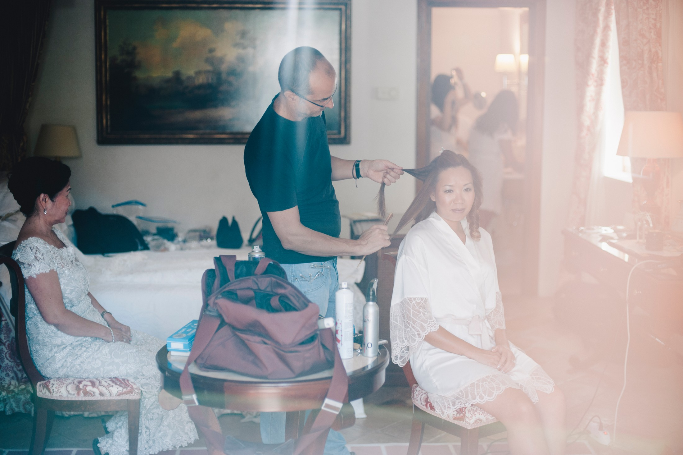 the bride during the preparation