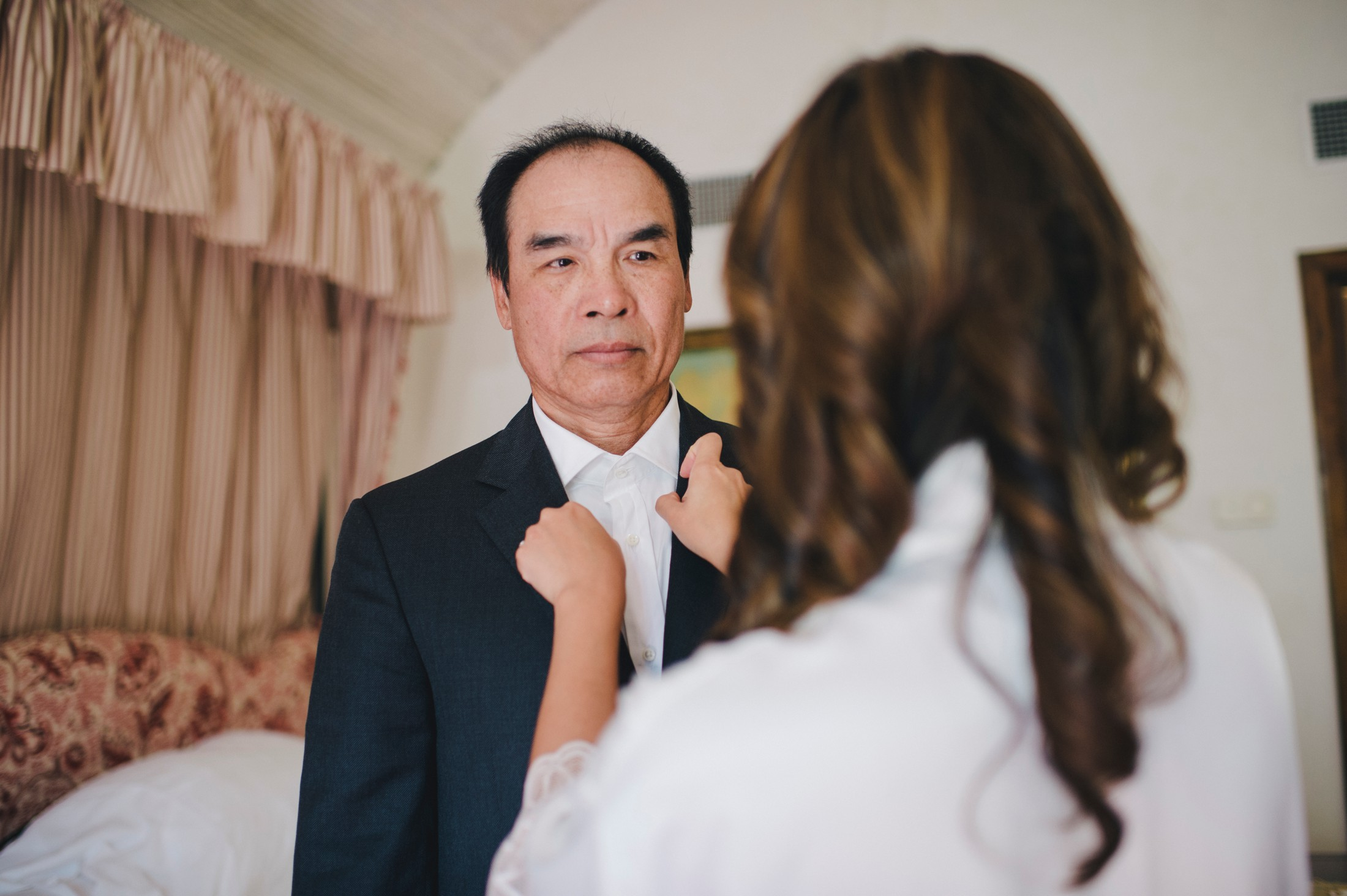 the bride and her father during the preparation