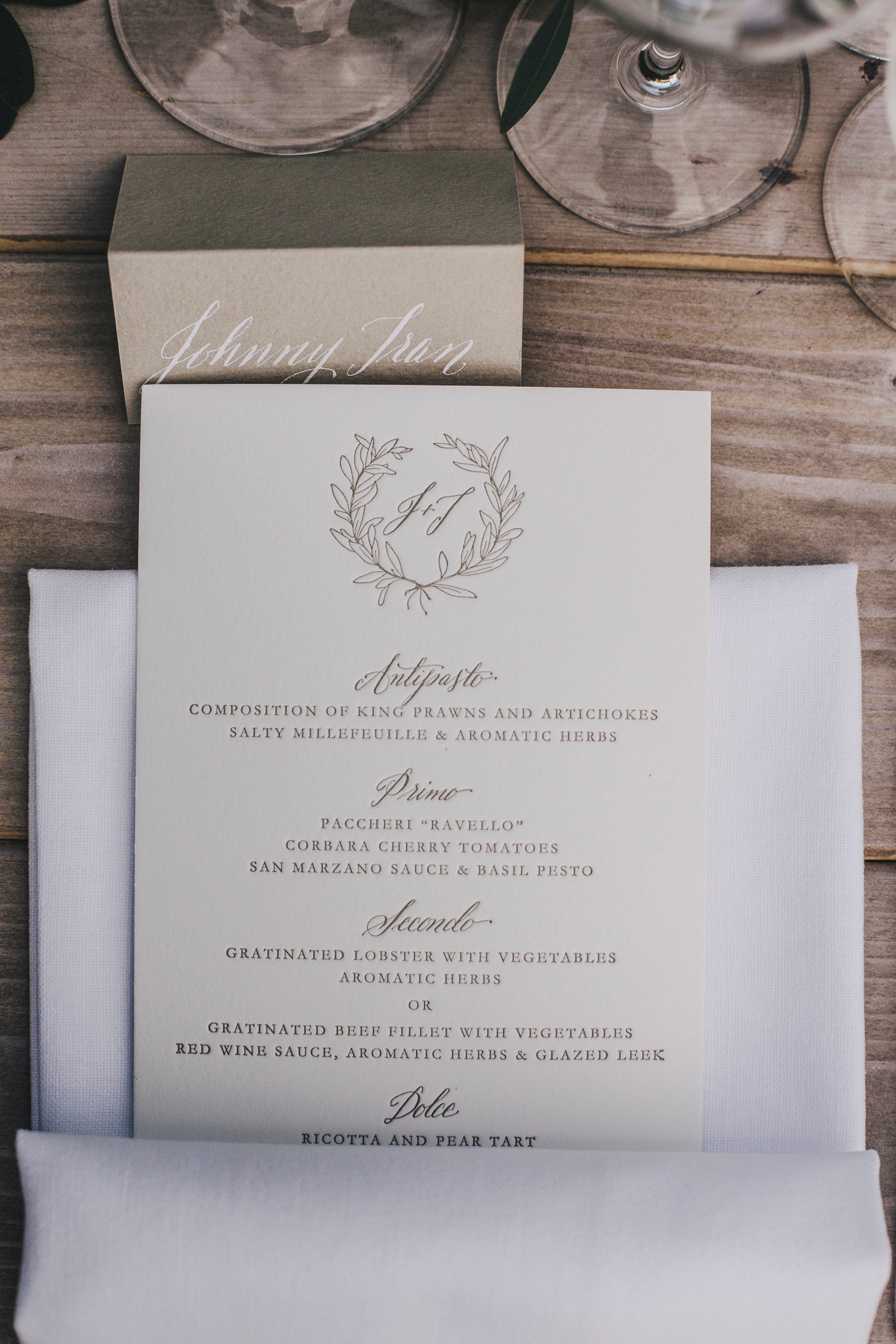 wedding menu detail