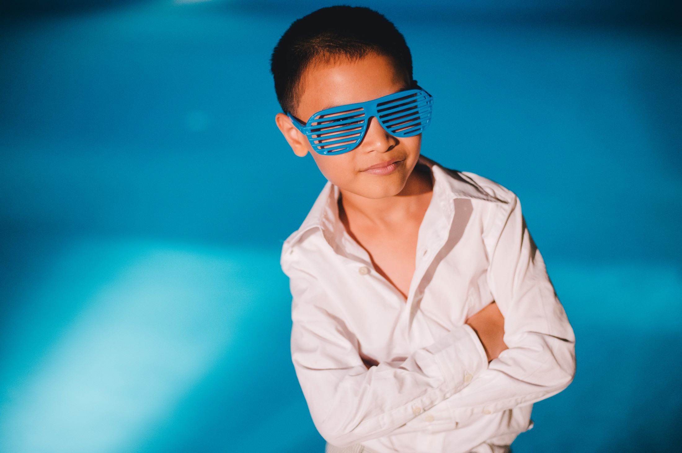 boy with funny blue glasses