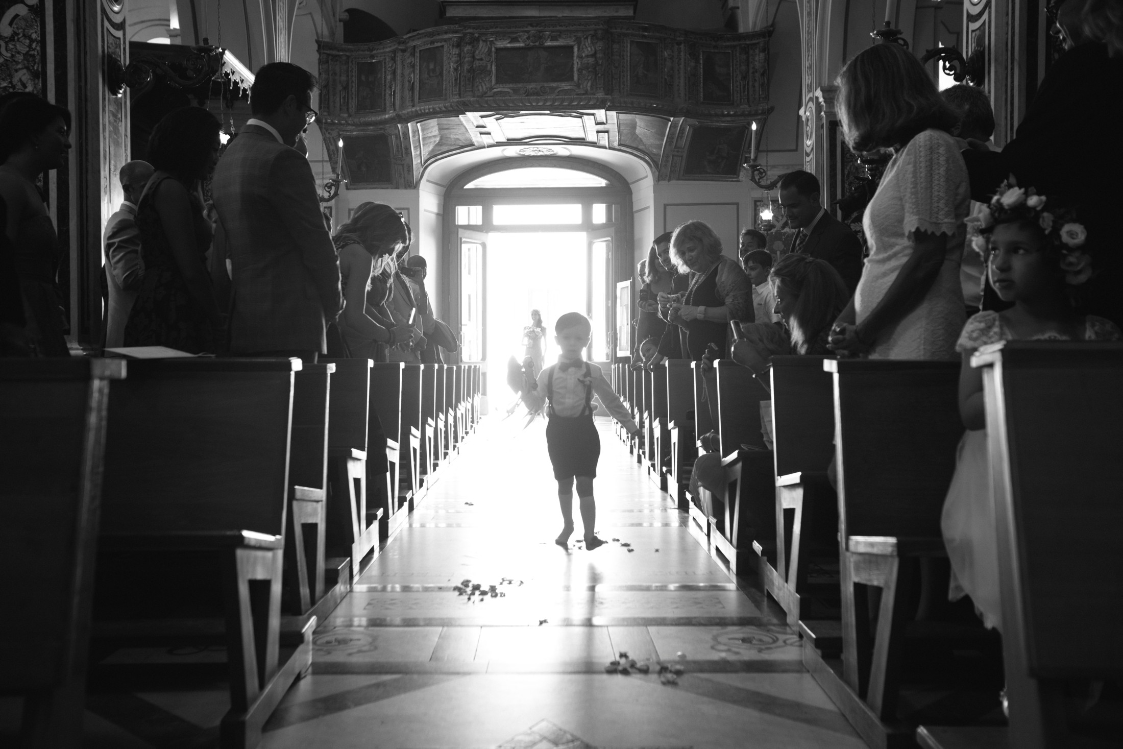 child walk to the aisle