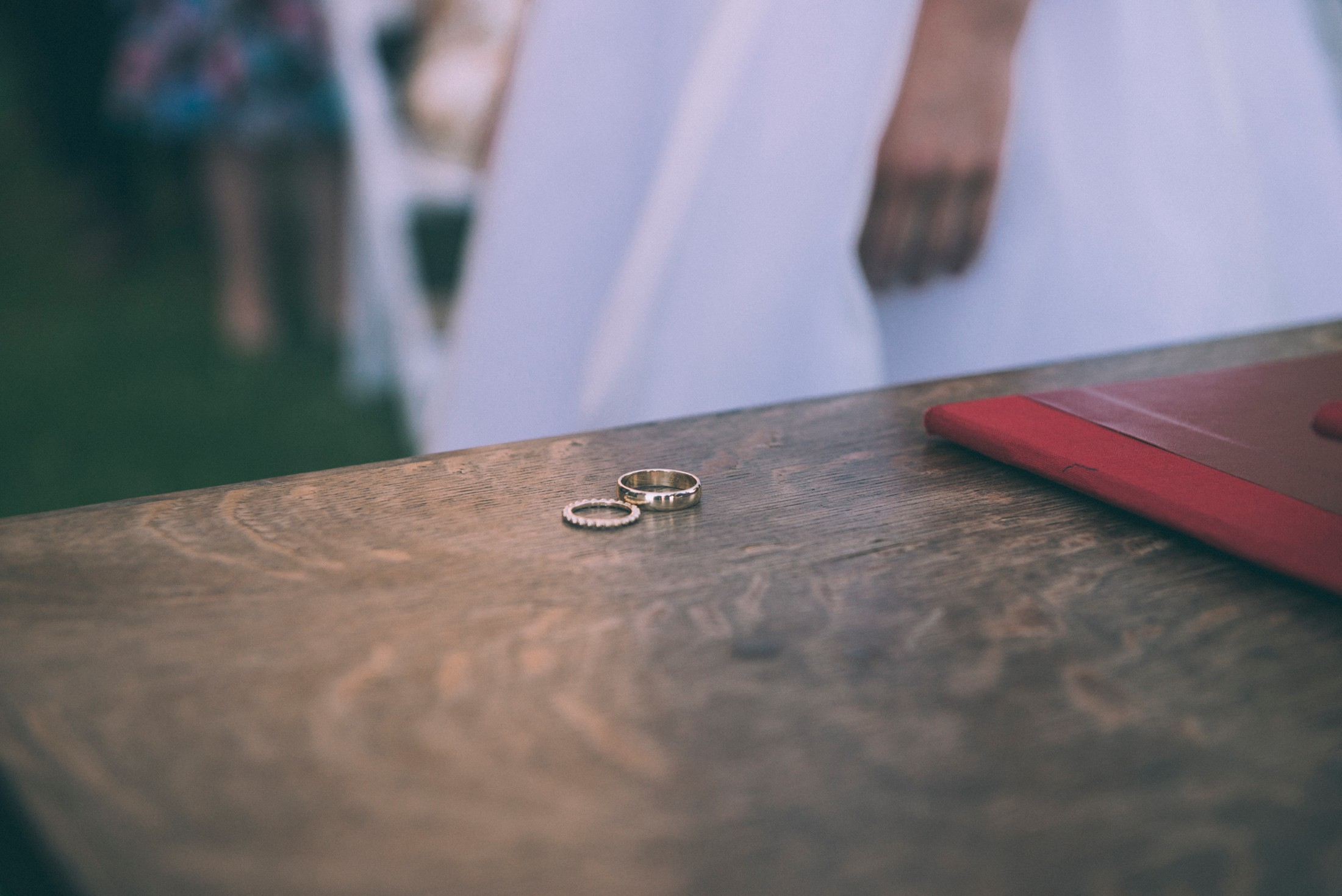 wedding rings on the table during the ceremony