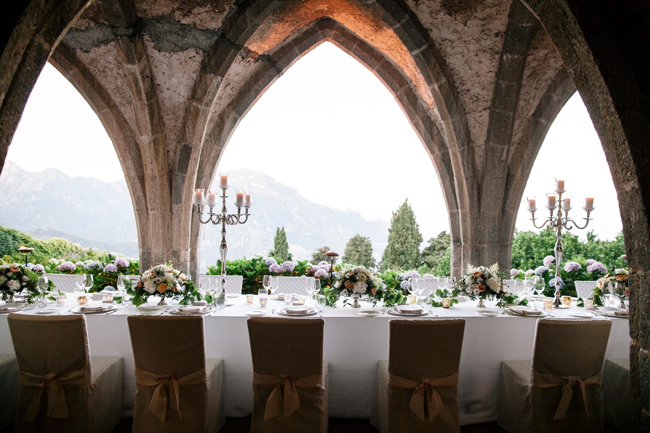 wedding table set in the villa cimbrone's cripta