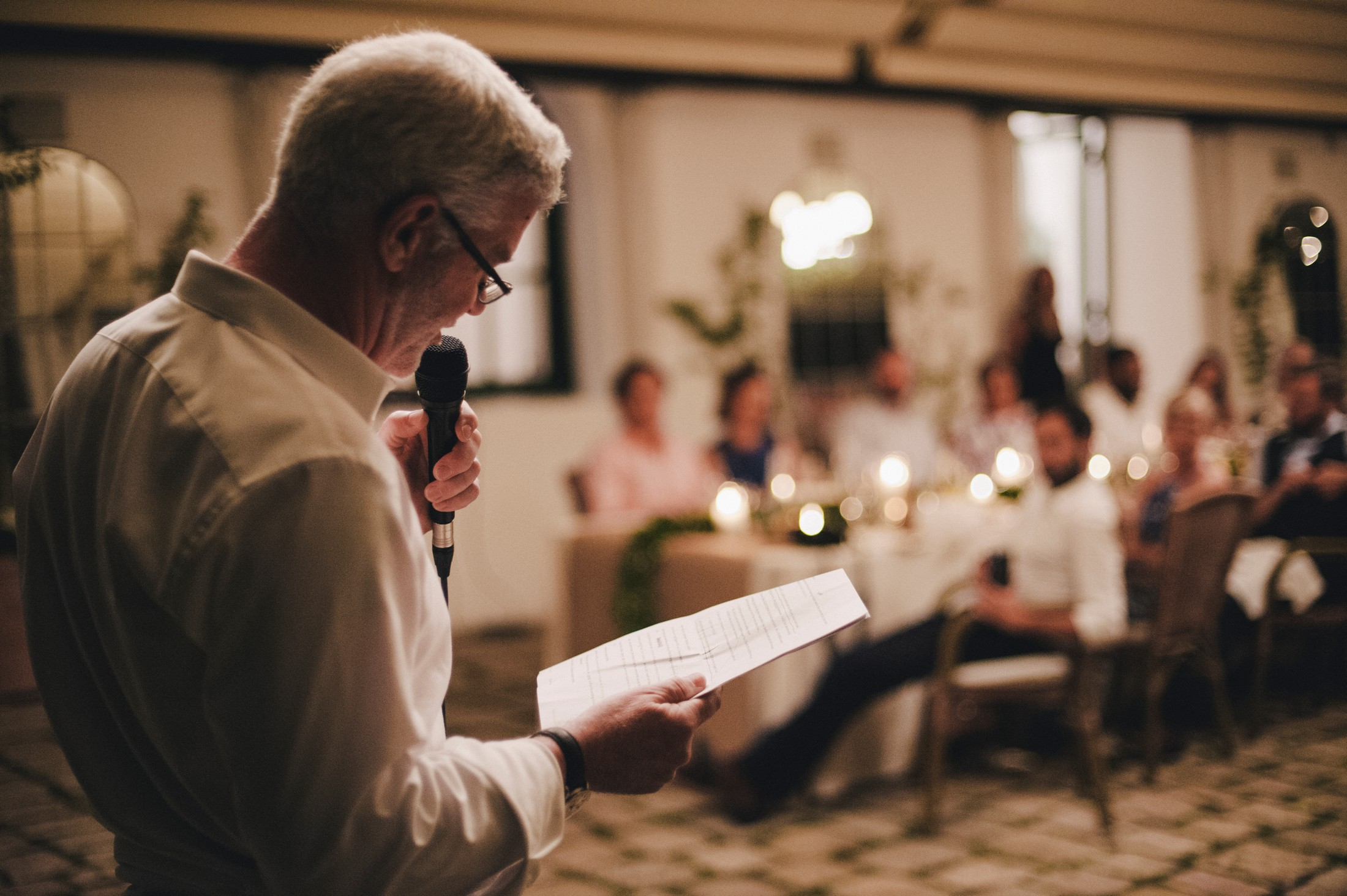 bride's father reading his speech