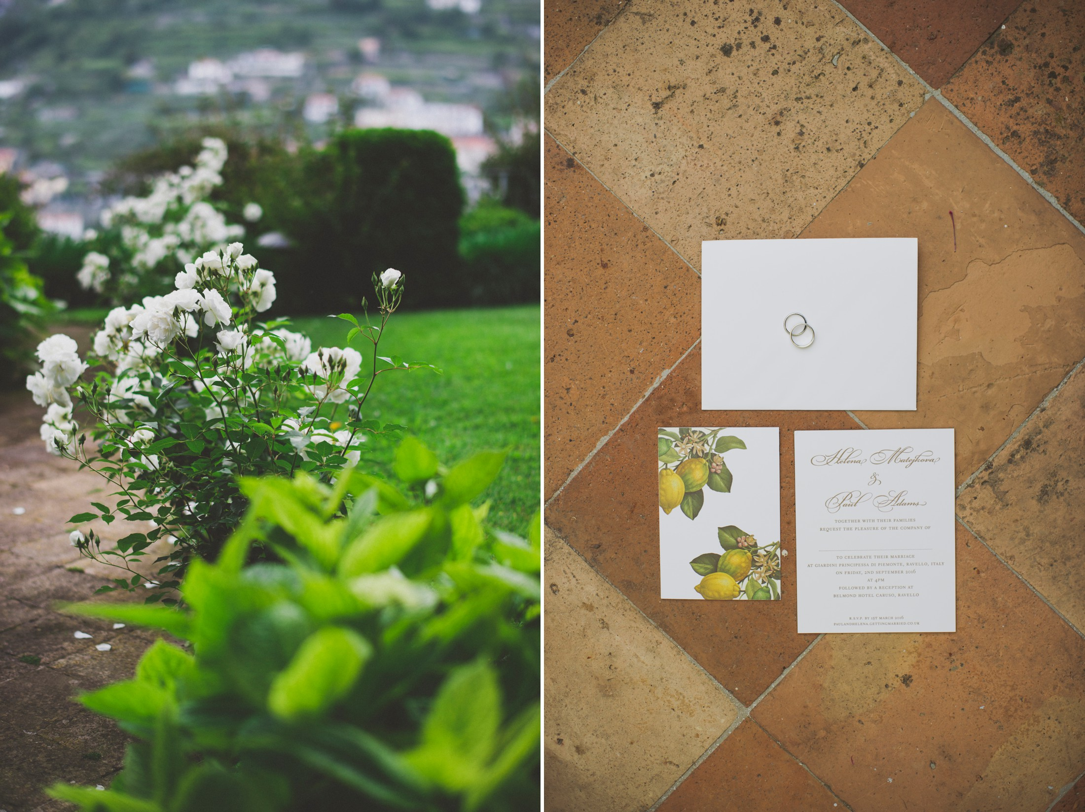collage wedding invitation card green garden