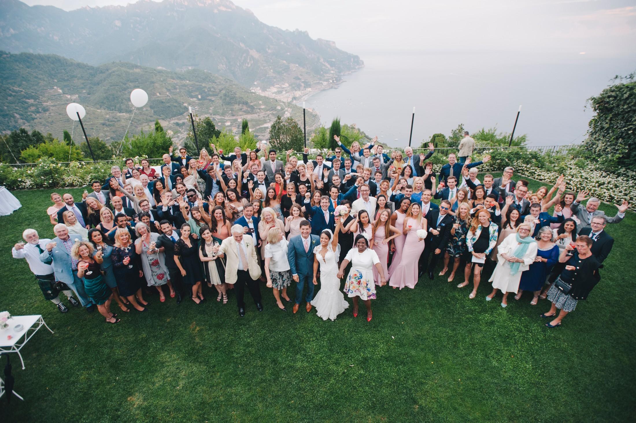 big wedding group at hotel caruso