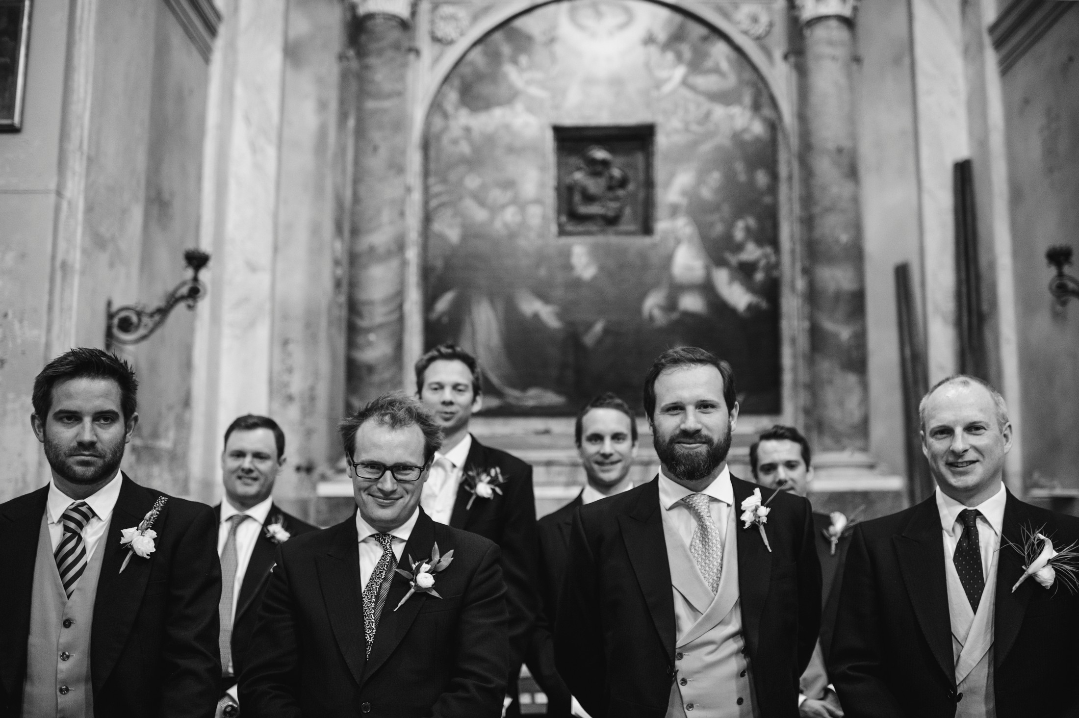 the groom with his best men black and white wedding in bracciano