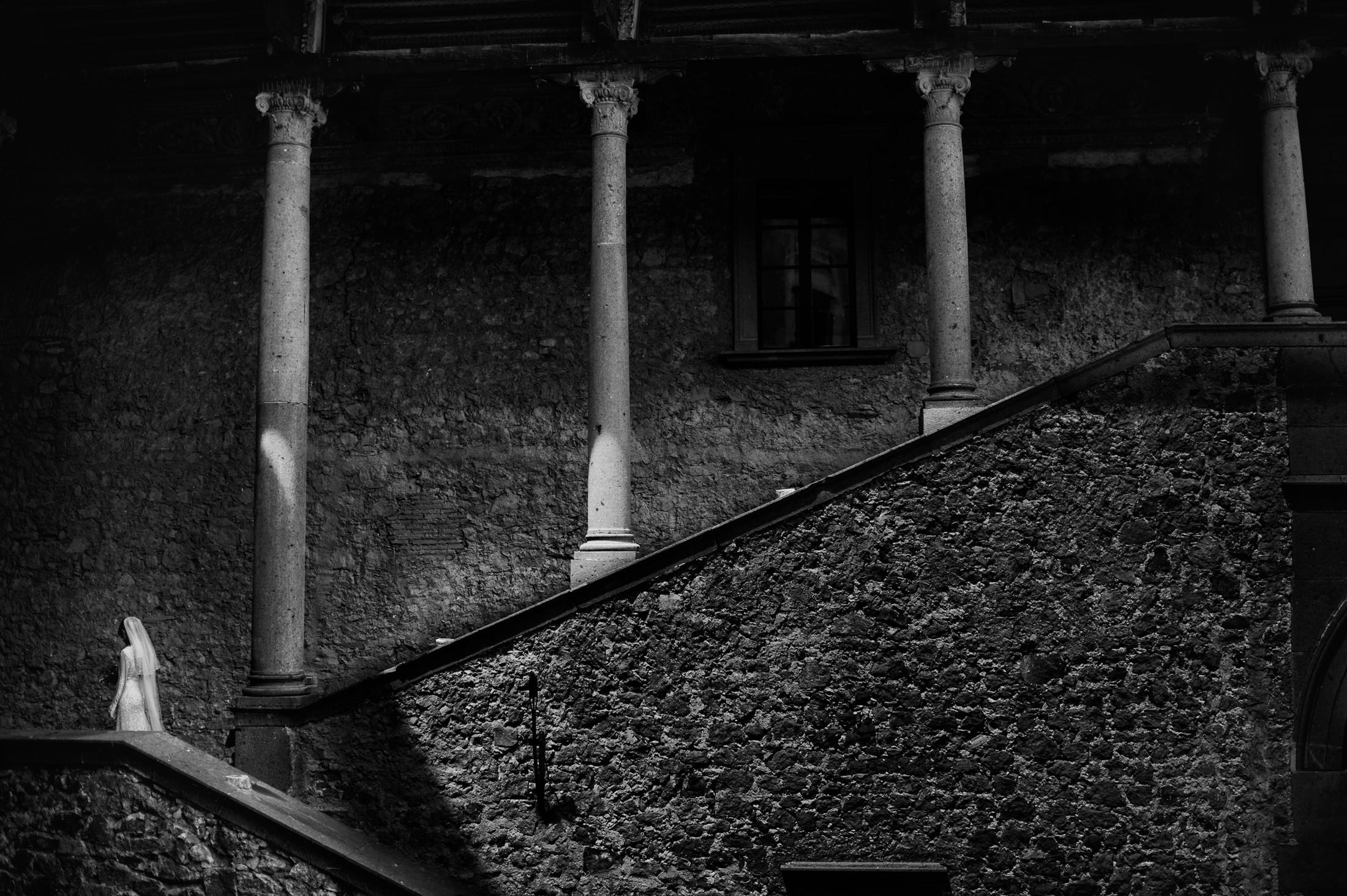 black and white bride's portrait in bracciano castle