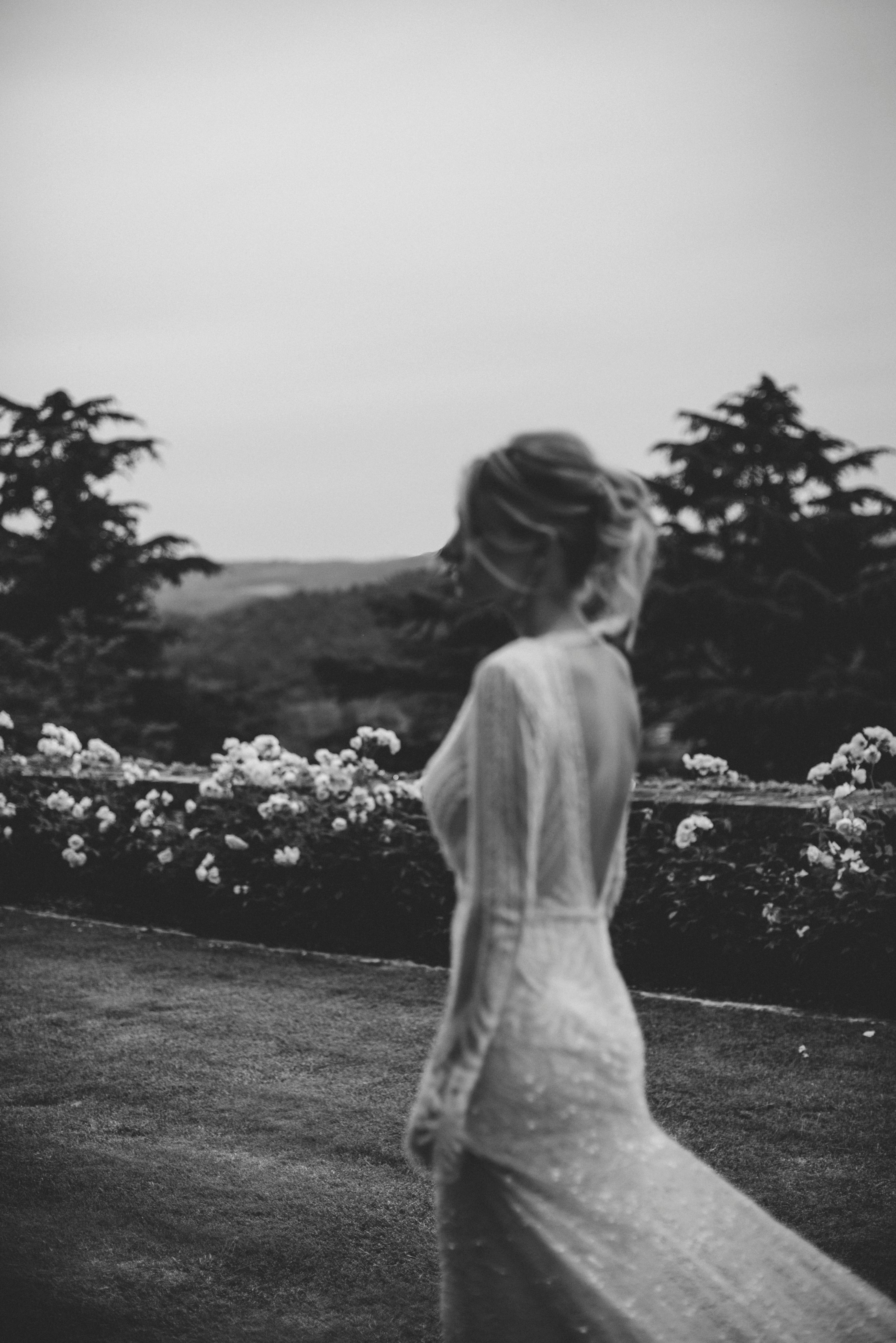 black and white bride's portrait in bracciano