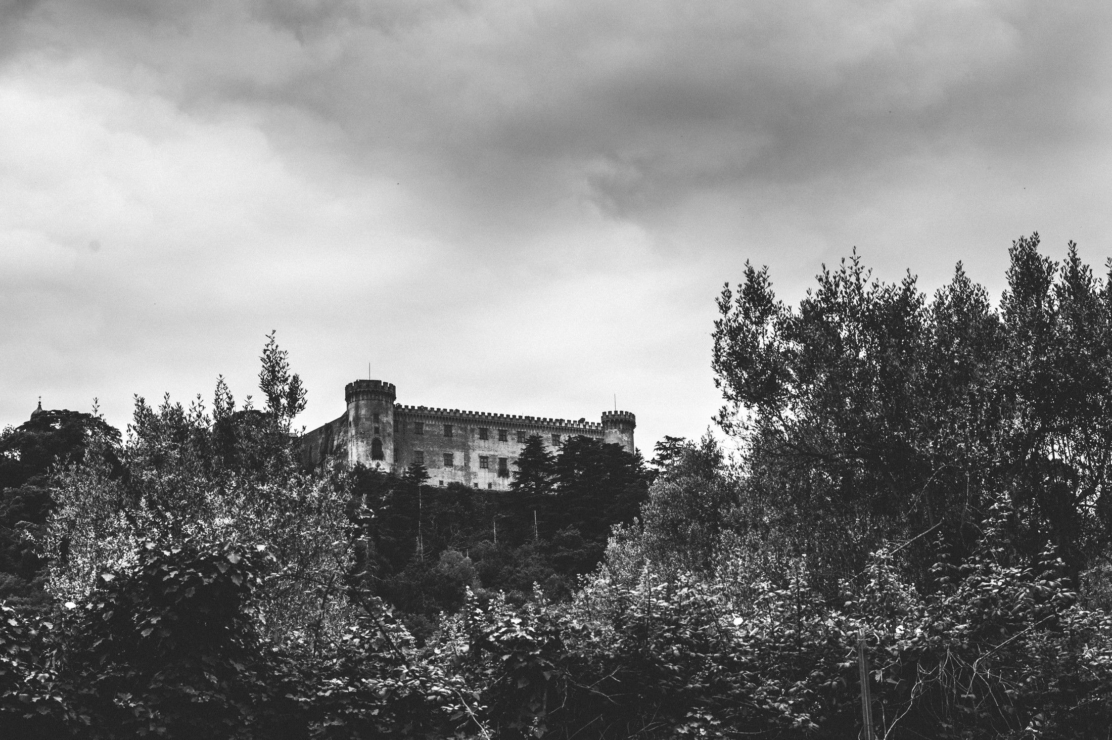 bracciano castle in black and white