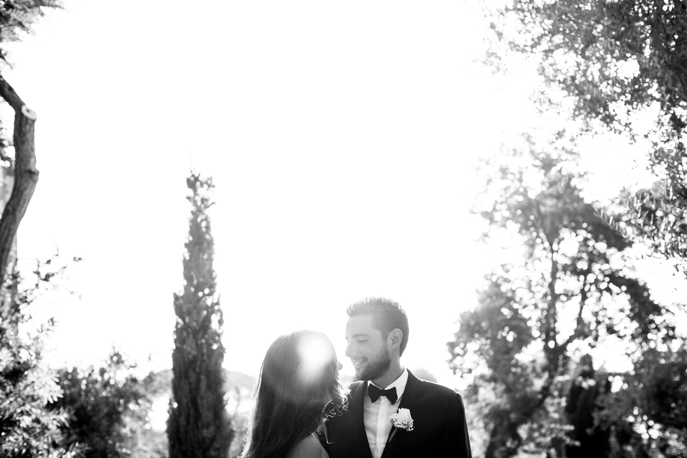 bride and groom's portrait in black and white