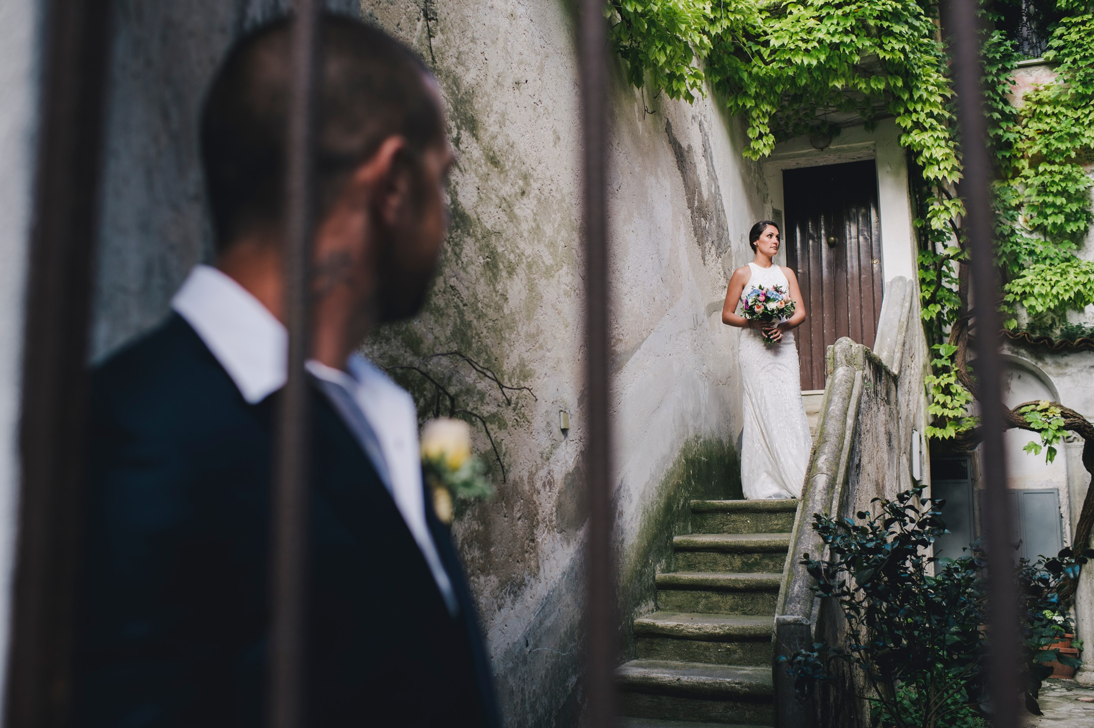 the bride on a stairs