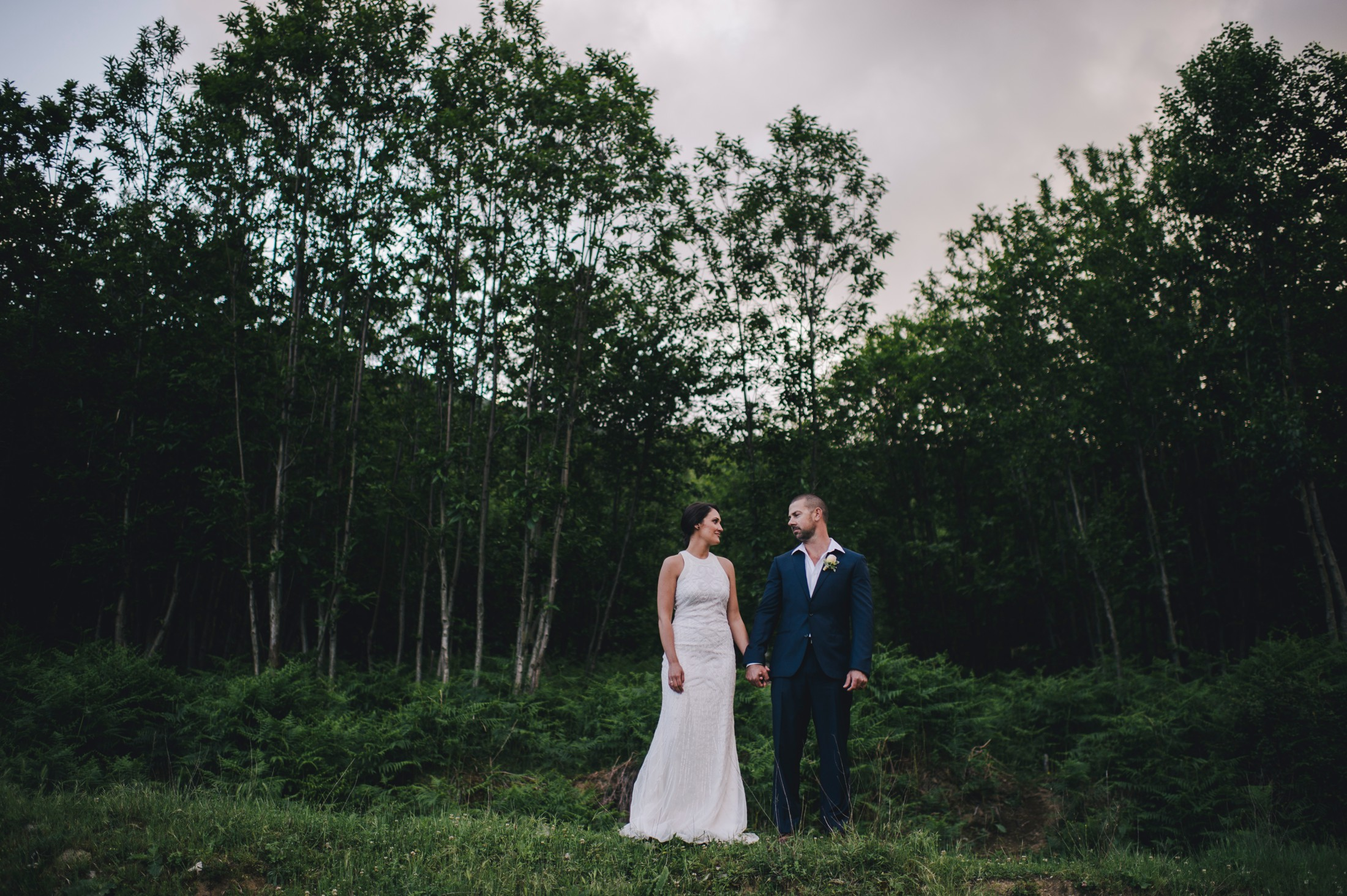 bride and groom's portrait in the nature