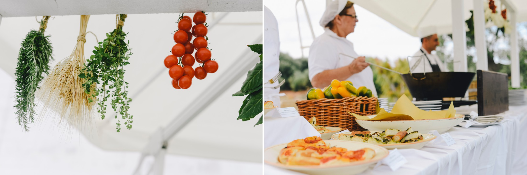 collage wedding canapé at masseria san domenico