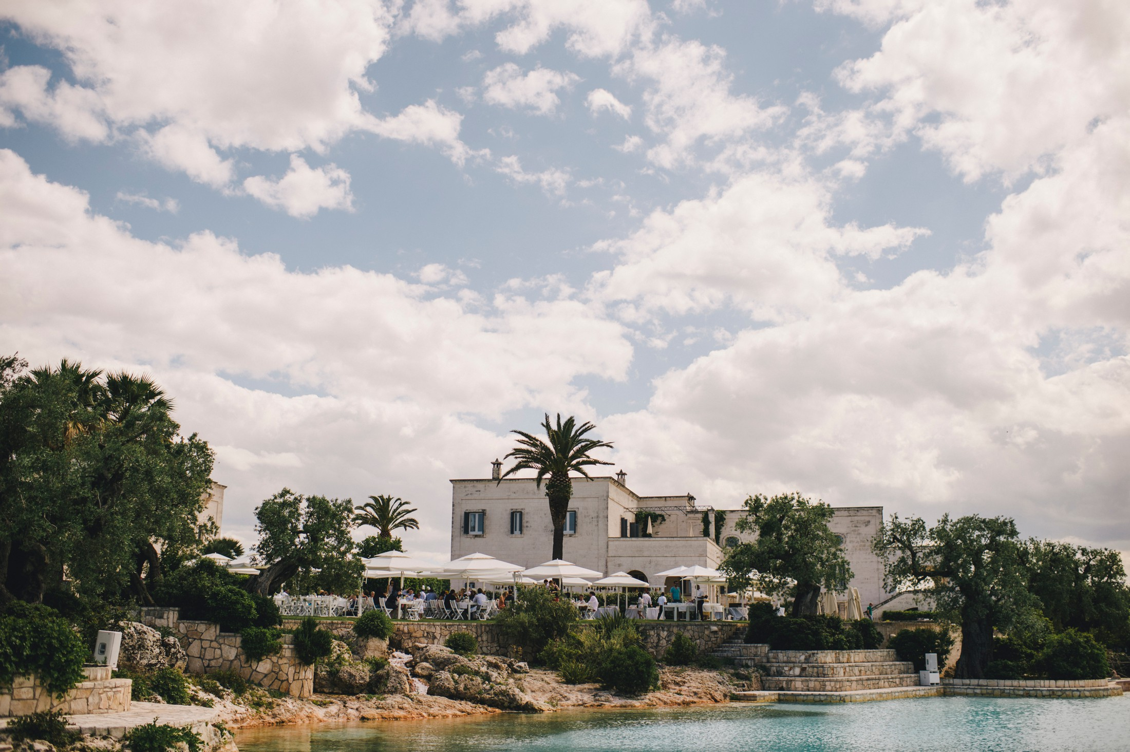 swimming pool and buildings at masseria san domenico