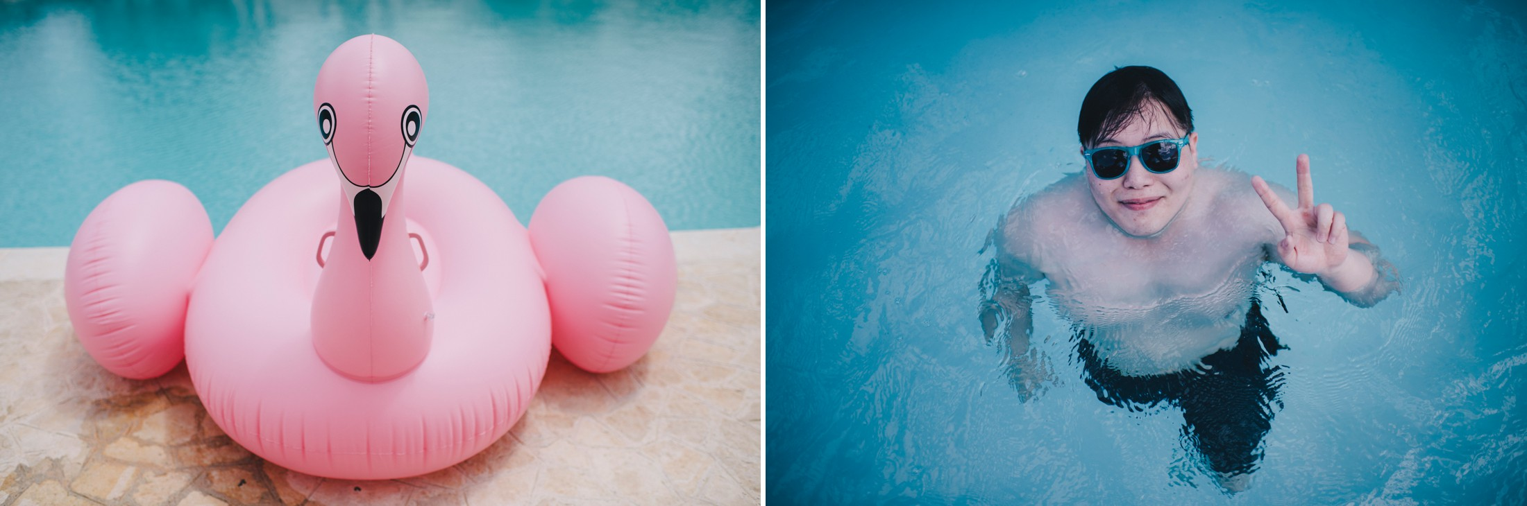 pink swan and a boy in the swimming pool with sun glasses