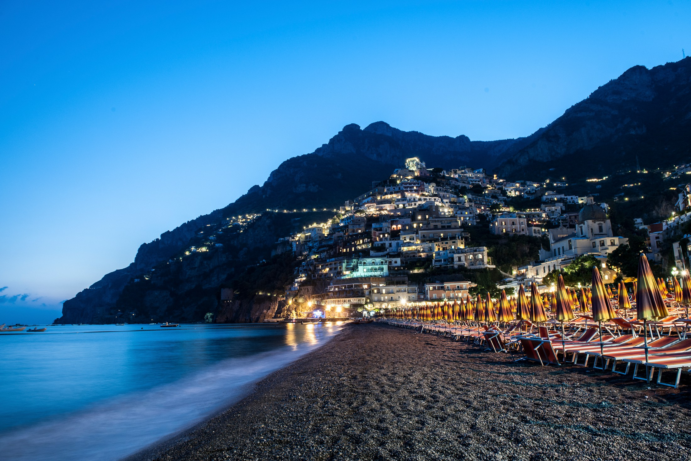 positano beach by night