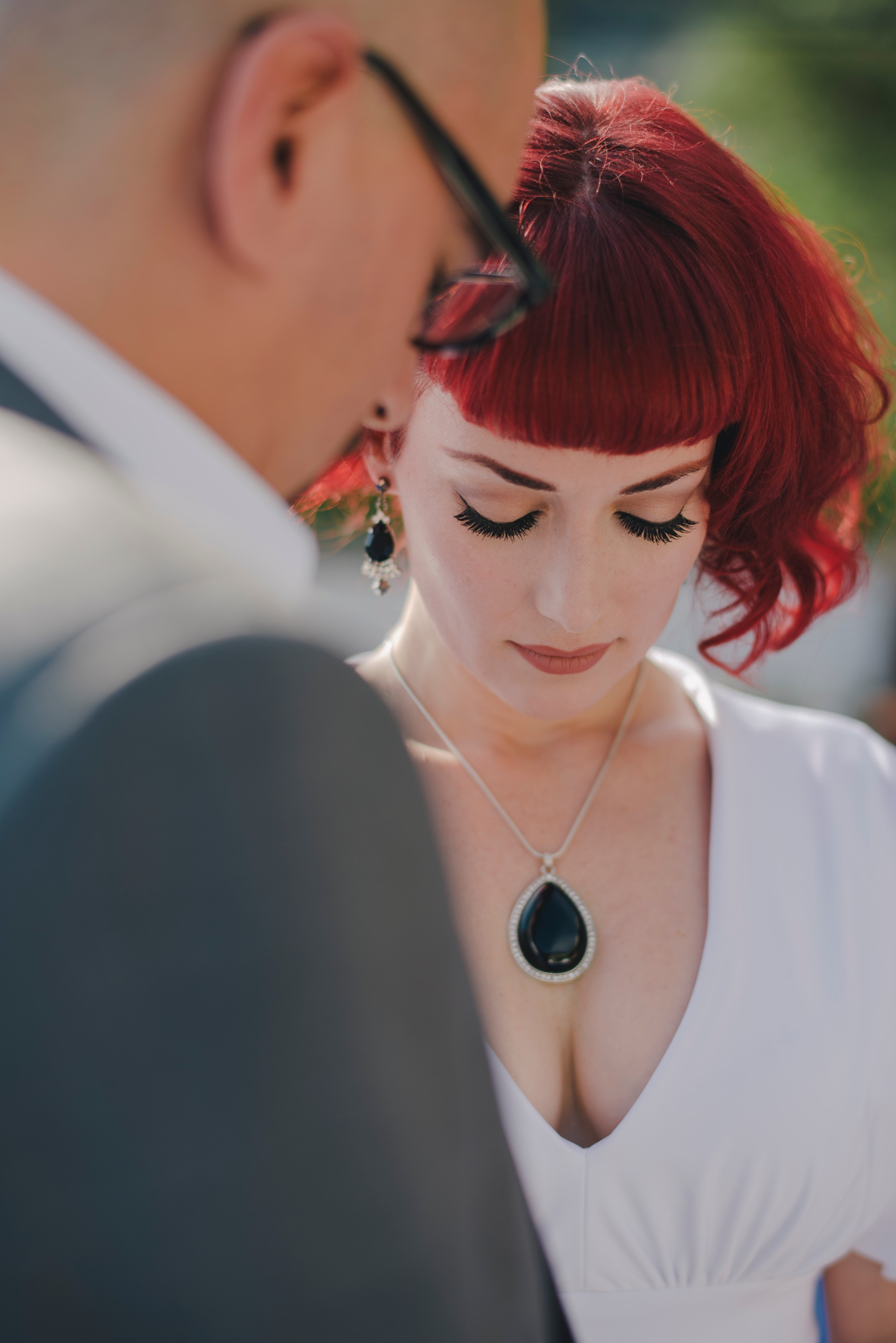 bride's portrait during the wedding ceremony