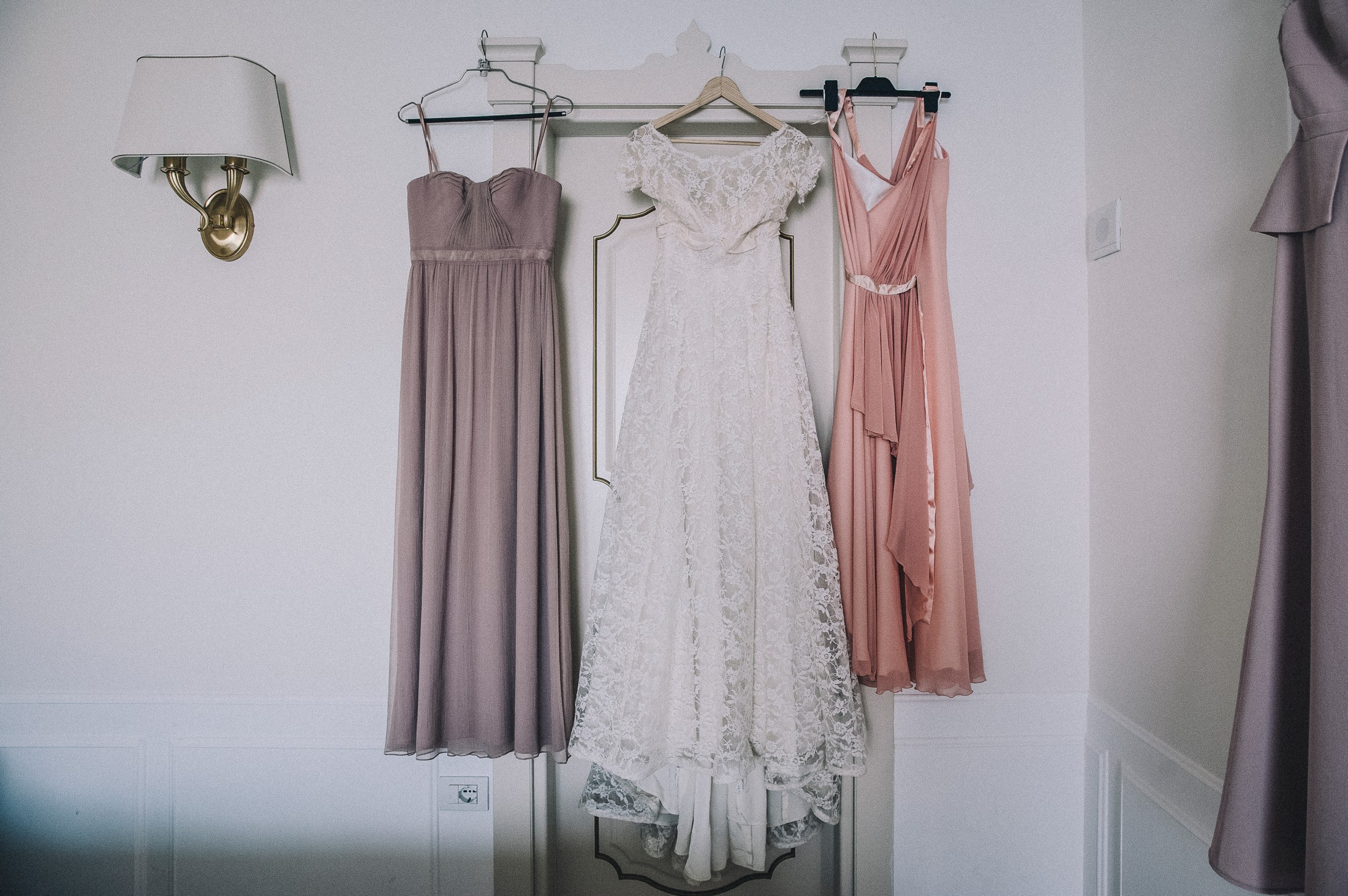 bride's wedding dress and bridesmaids ones