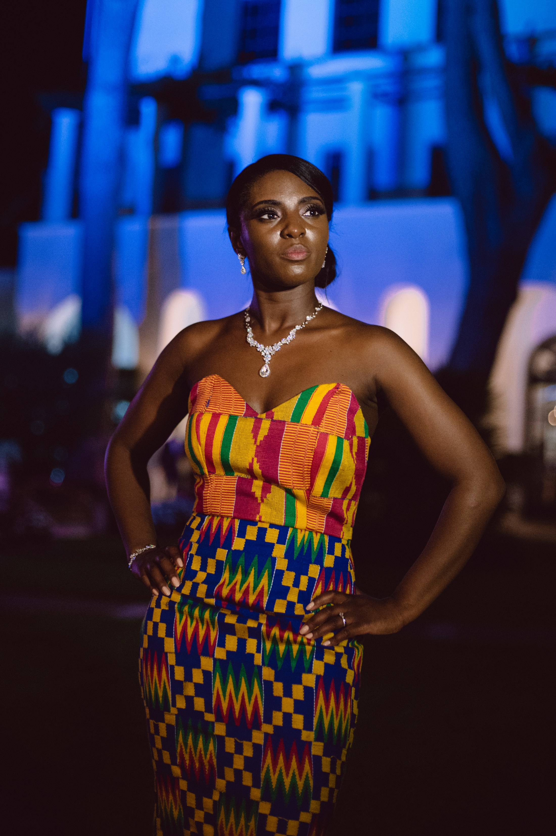 bride's portrait with colorful african dress