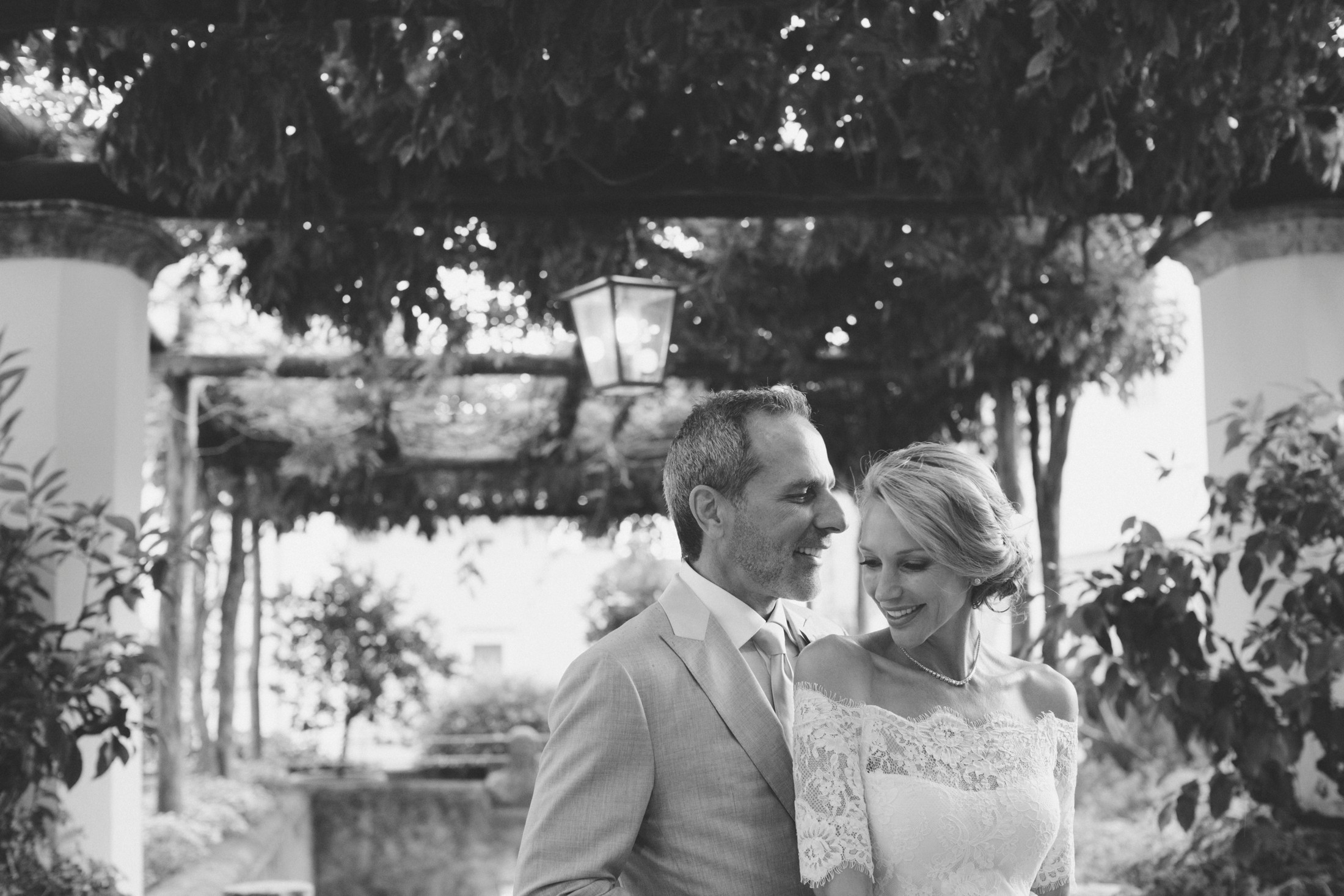 black and white bride and groom's portrait at the hotel caruso
