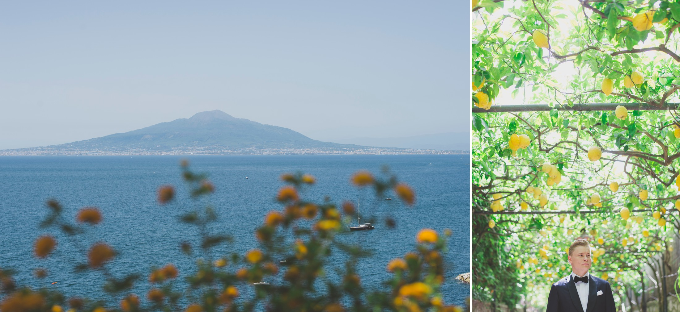 collage sorrento and groom's portrait