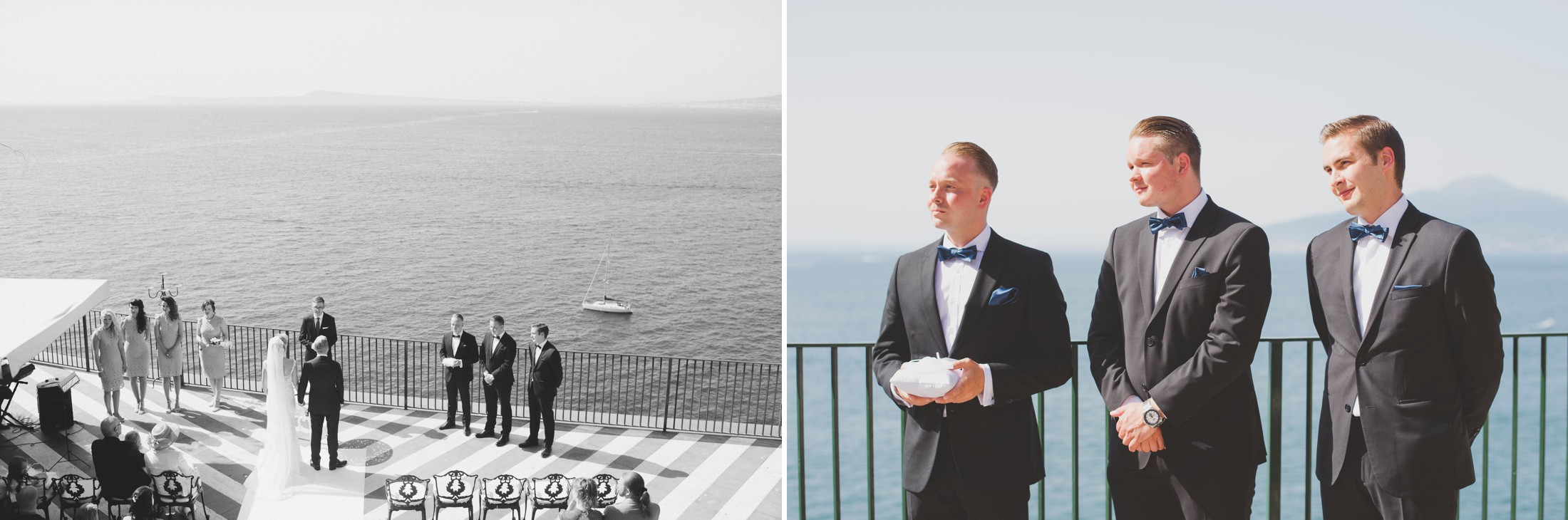 seaside wedding ceremony collage