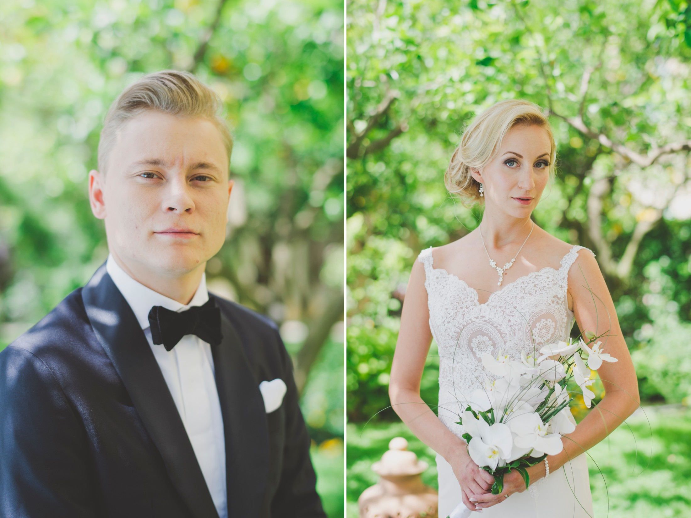 collage bride and groom's portrait