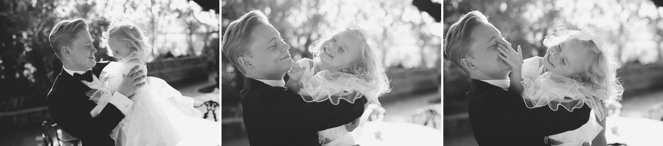 black and white collage of the groom with his daughter