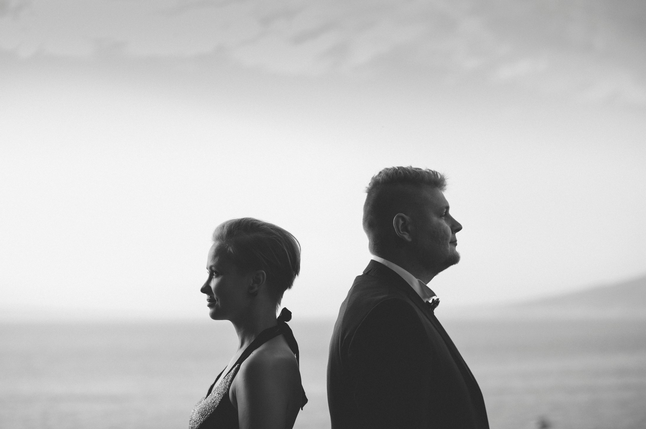 black and white couple portrait