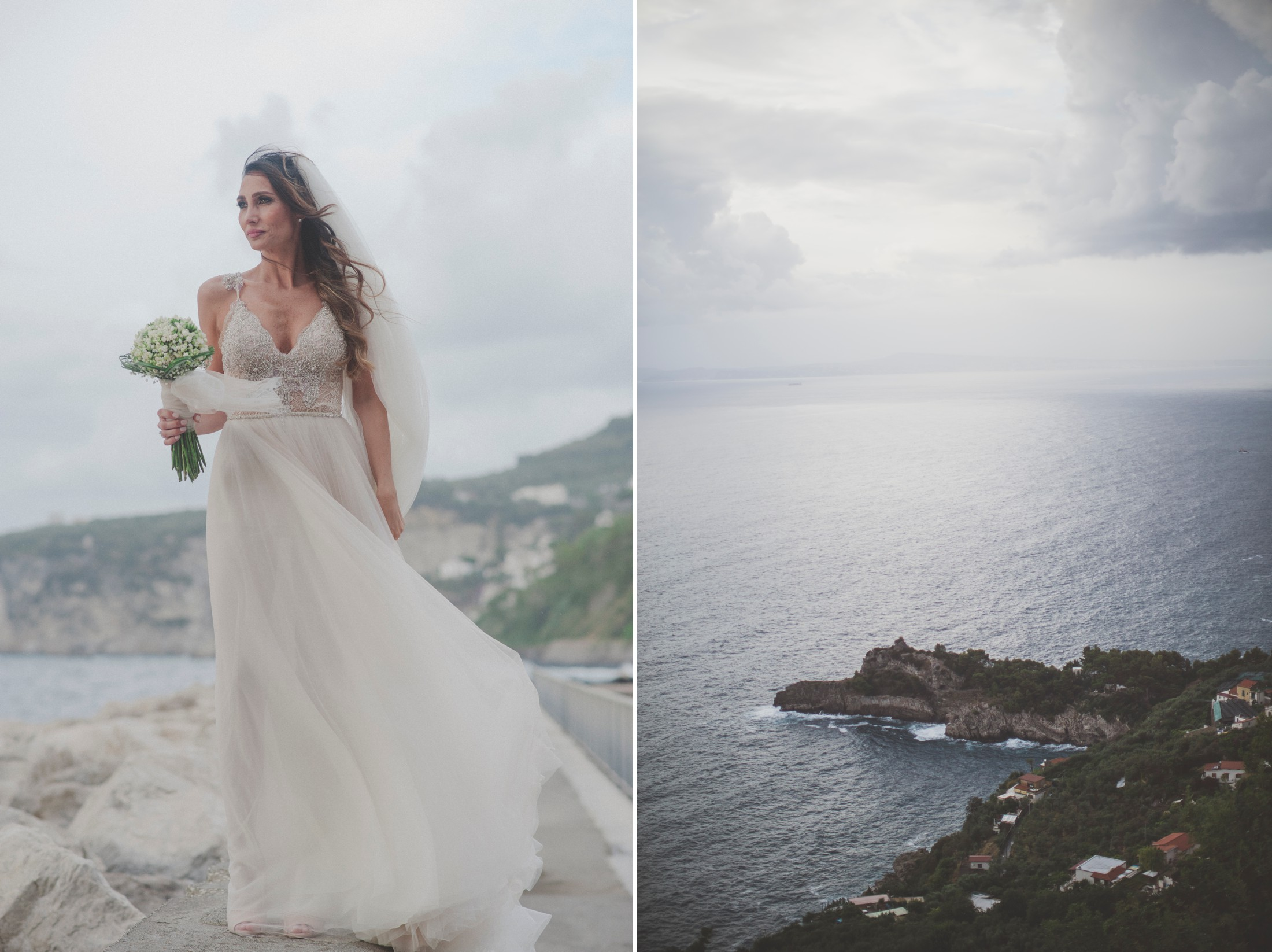 collage bride portrait by the sea and landscape