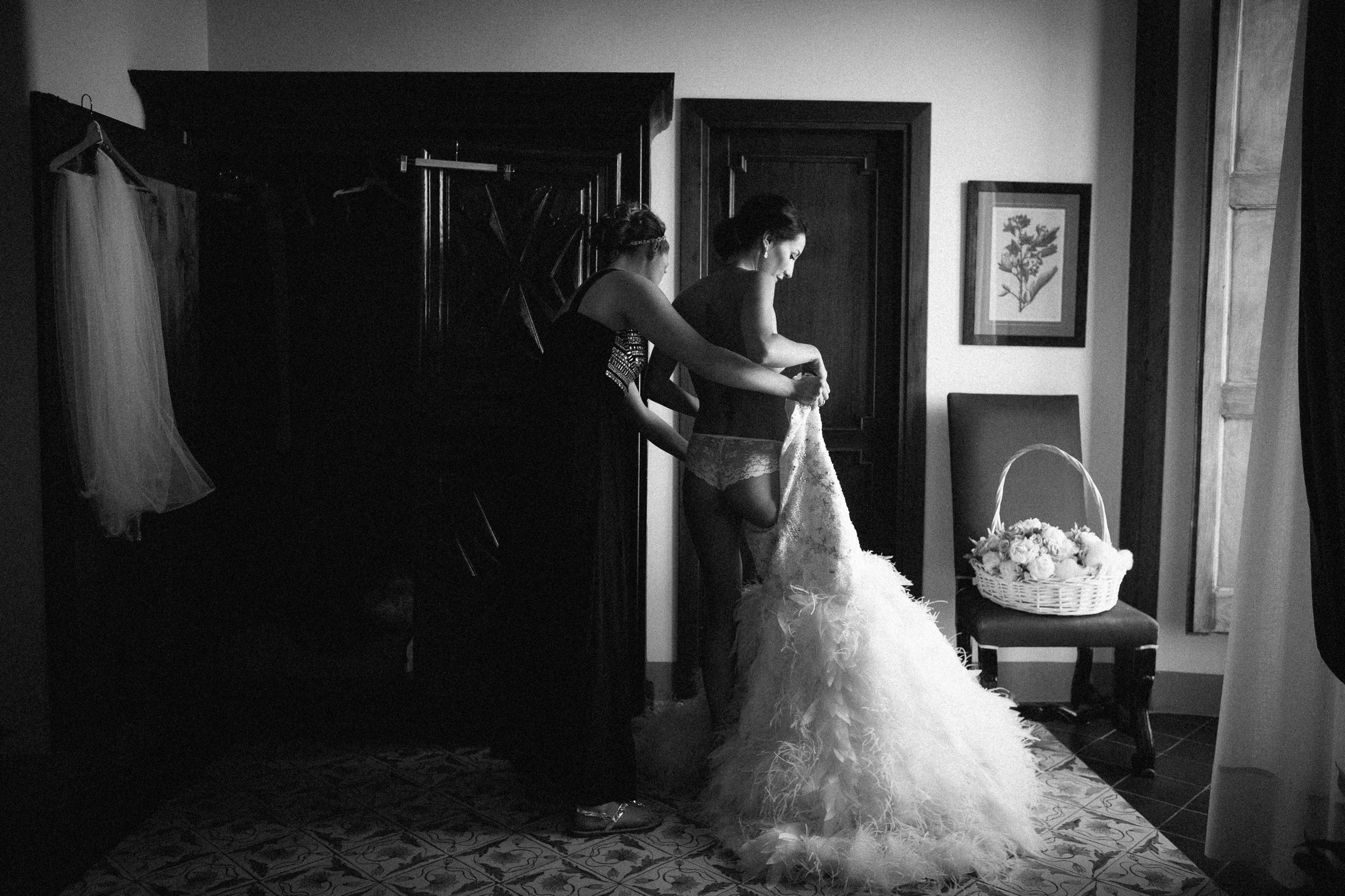 the bride wearing her wedding dress