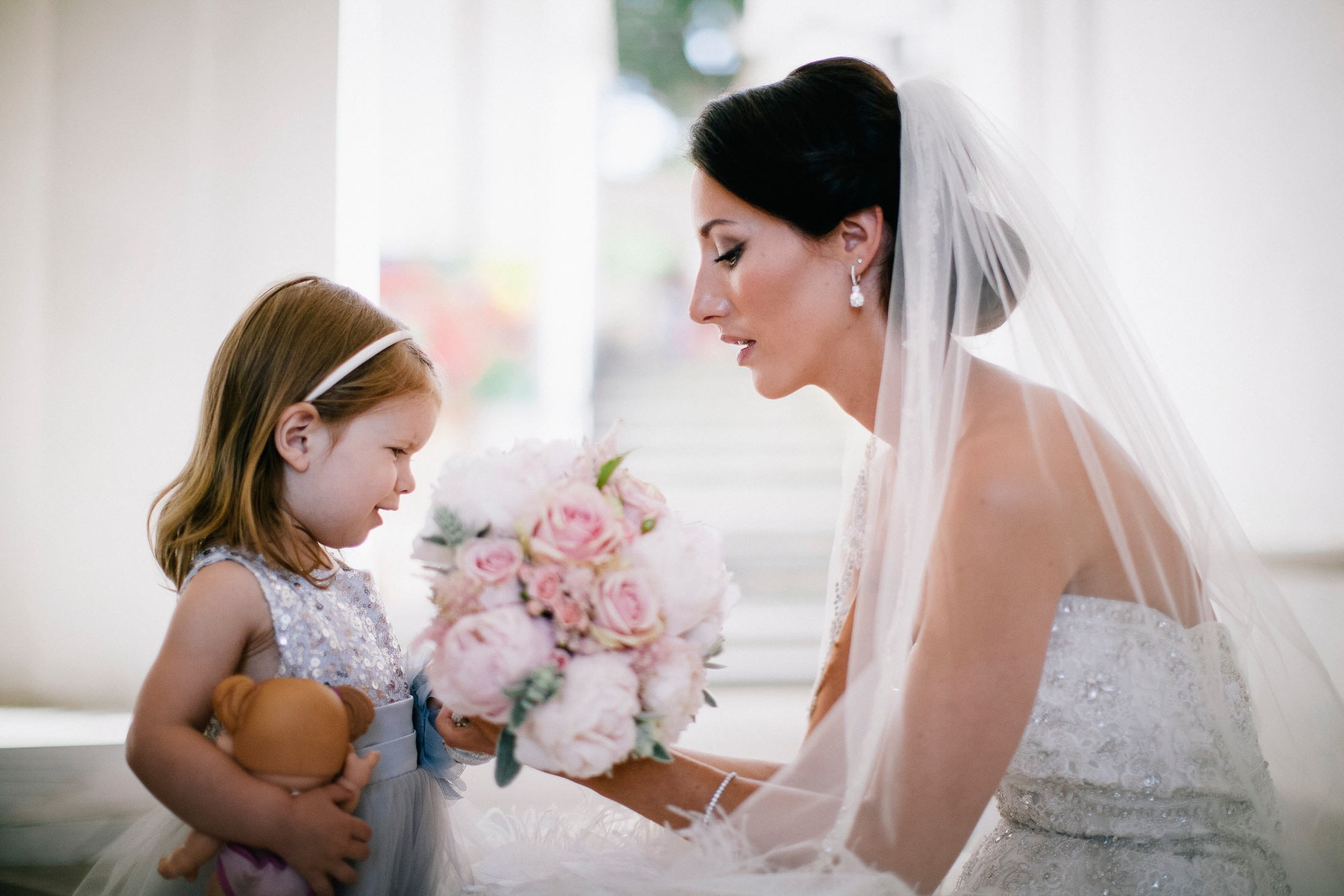 the bride with her young daughter