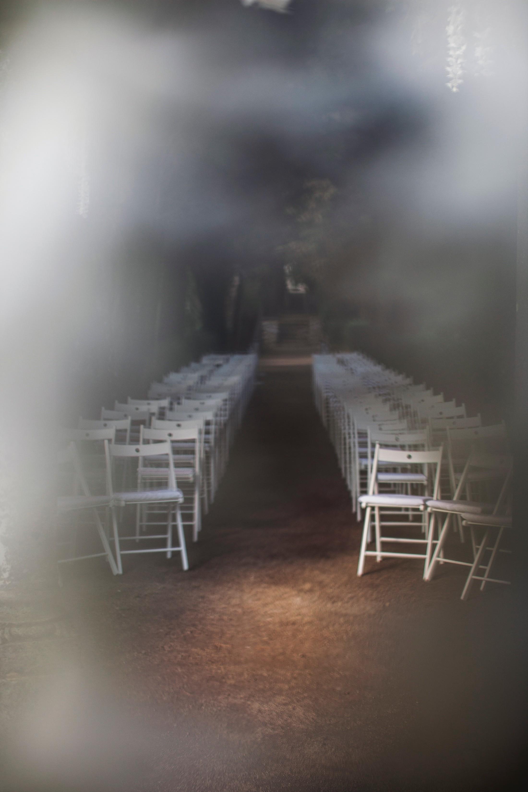 wedding ceremony setting at villa cimbrone