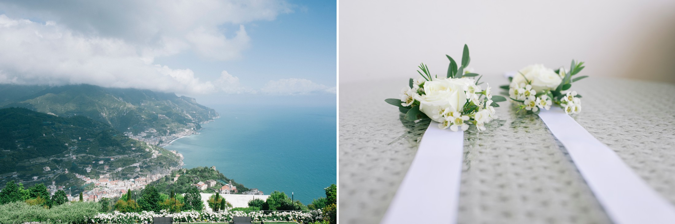 collage ravello view and wedding flowers detail