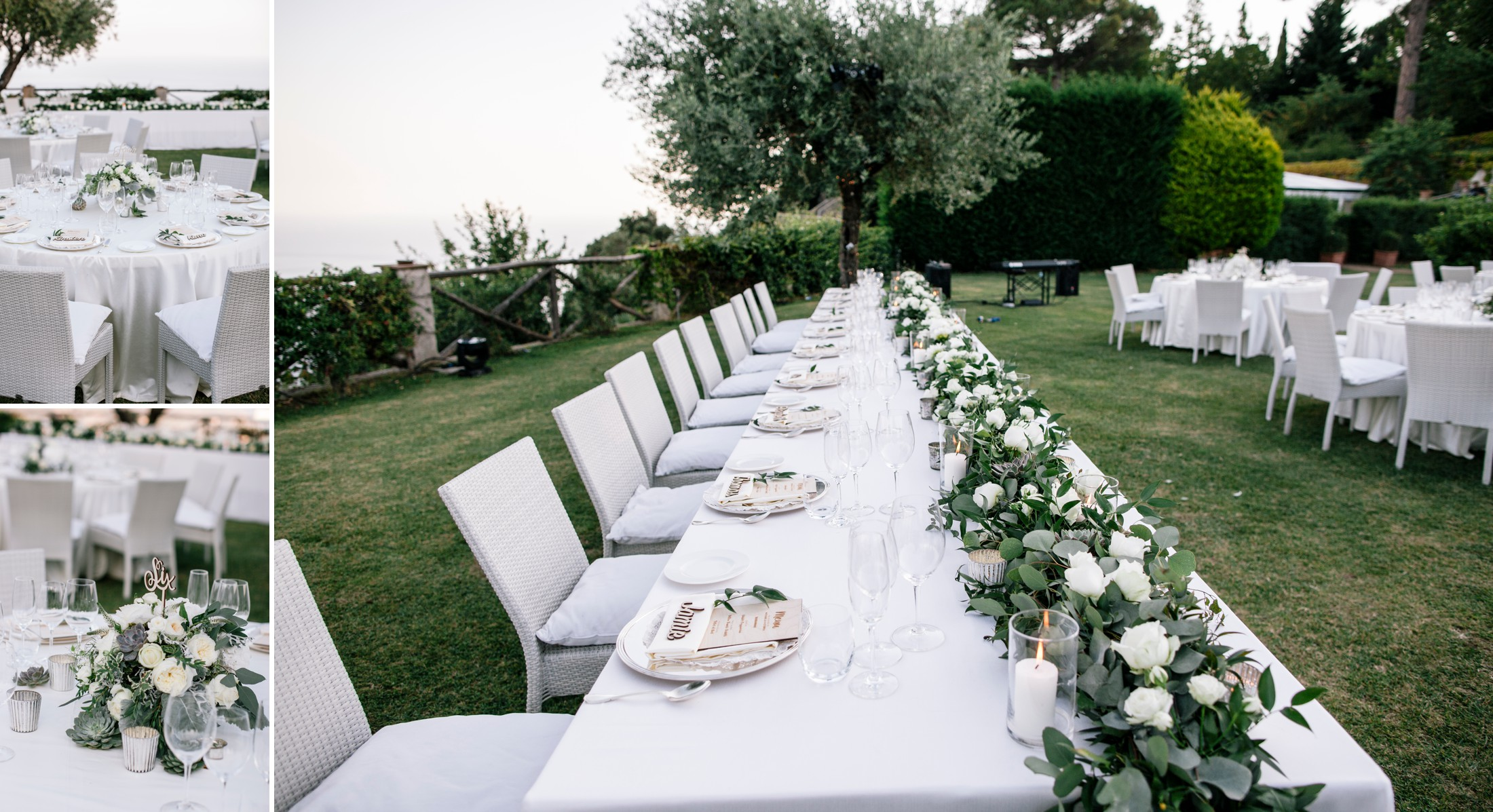 collage wedding tables at villa cimbrone ravello