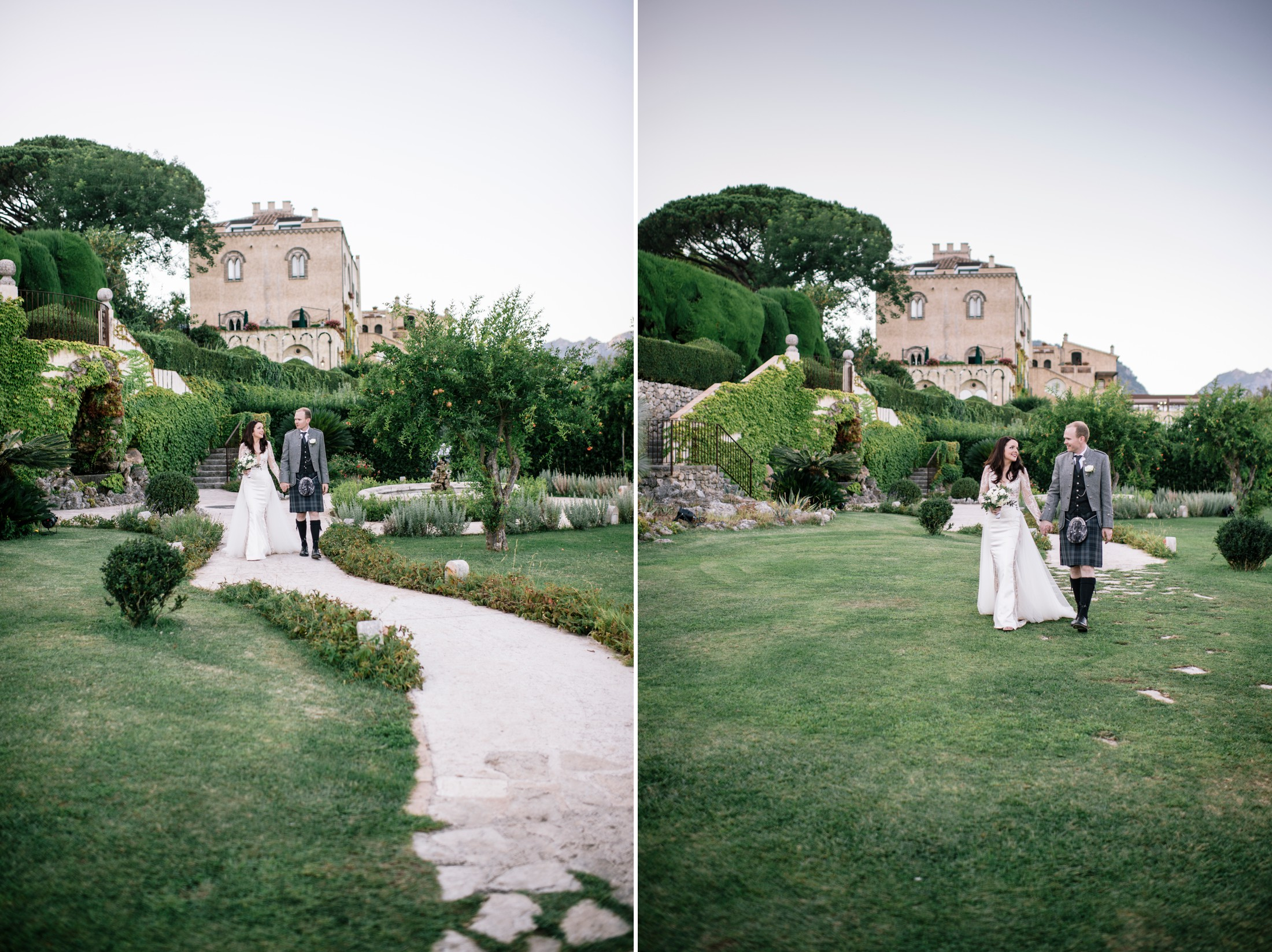 bride and groom joining their guests for the wedding dinner at villa cimbrone ravello