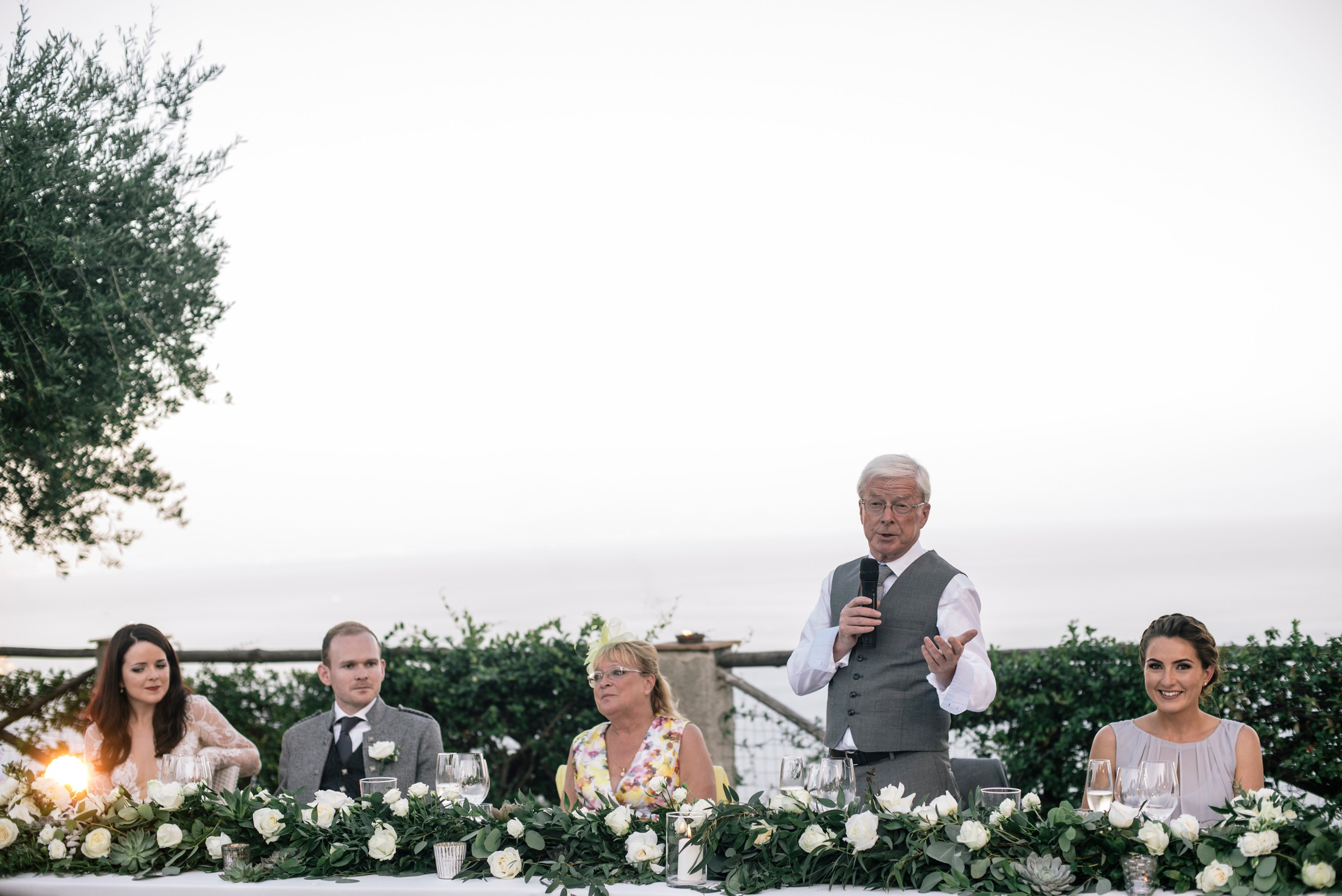 the bride's father during his speech at villa cimbrone ravello