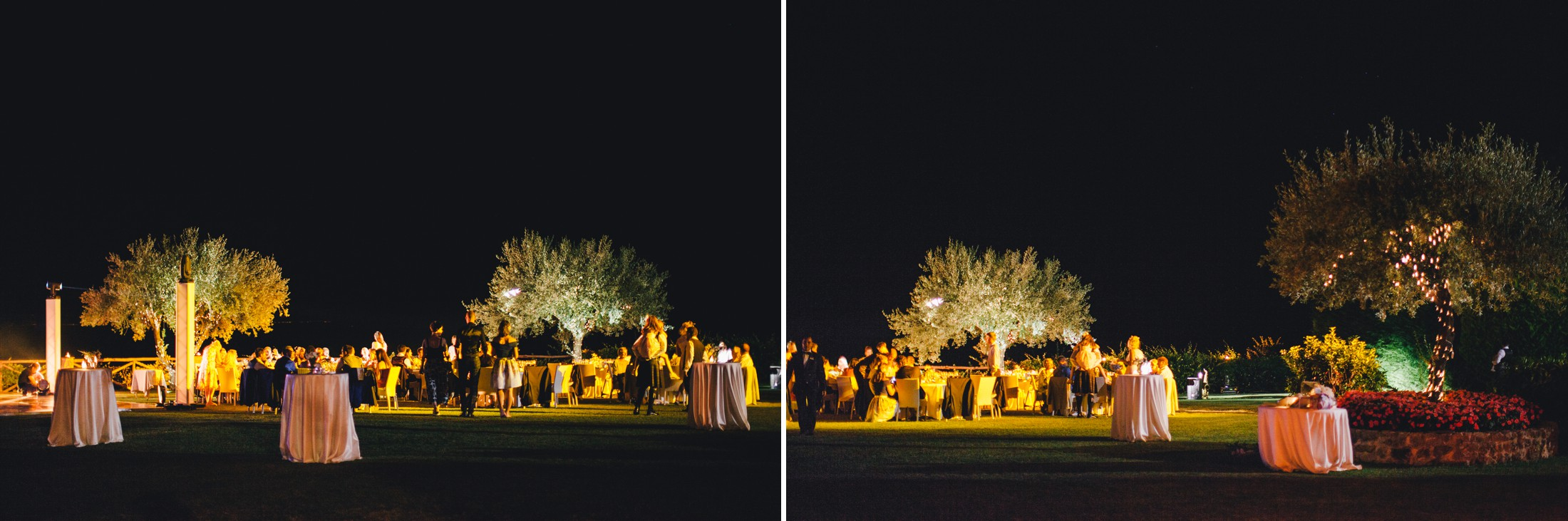 collage wedding dinner at villa cimbrone ravello at night time