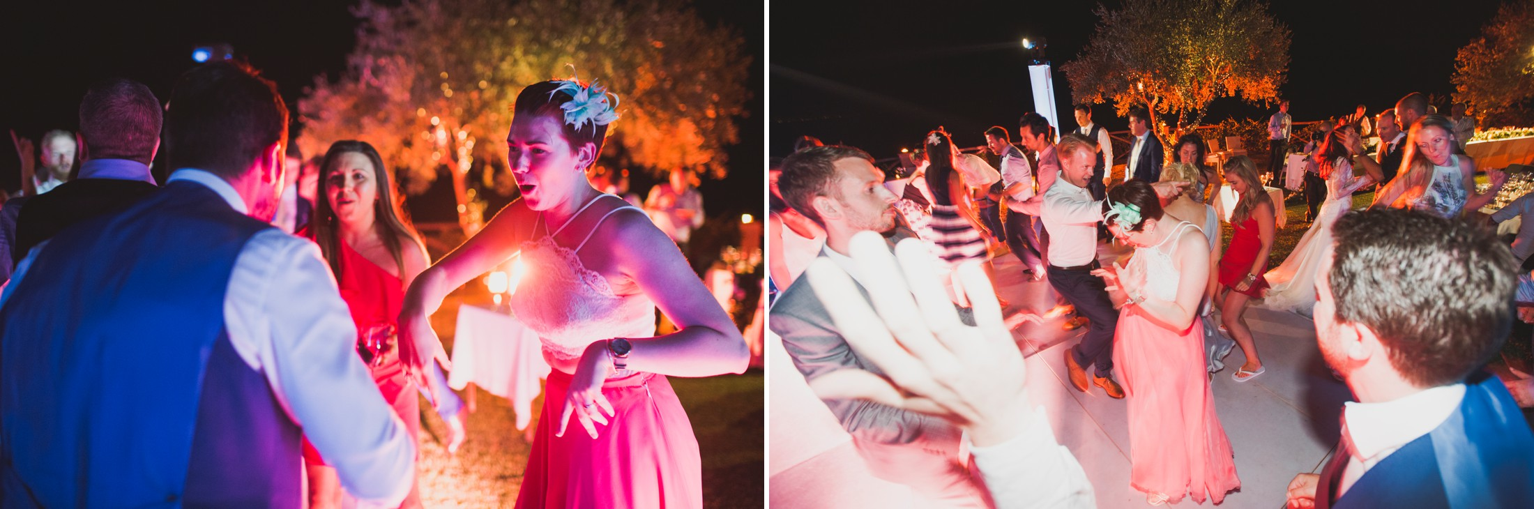 collage guests dancing during the wedding dance party at villa cimbrone ravello