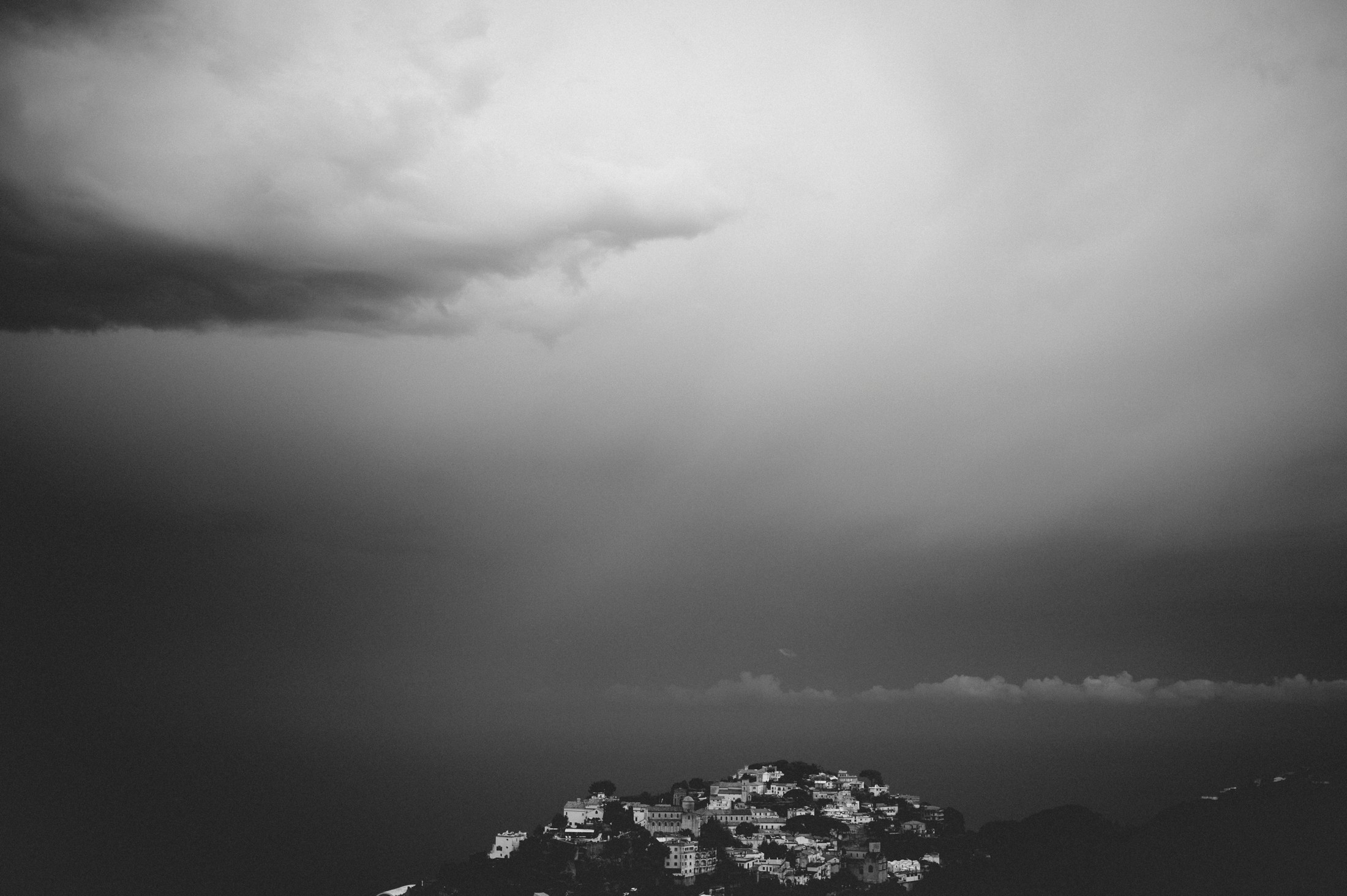 view of ravello in black and white
