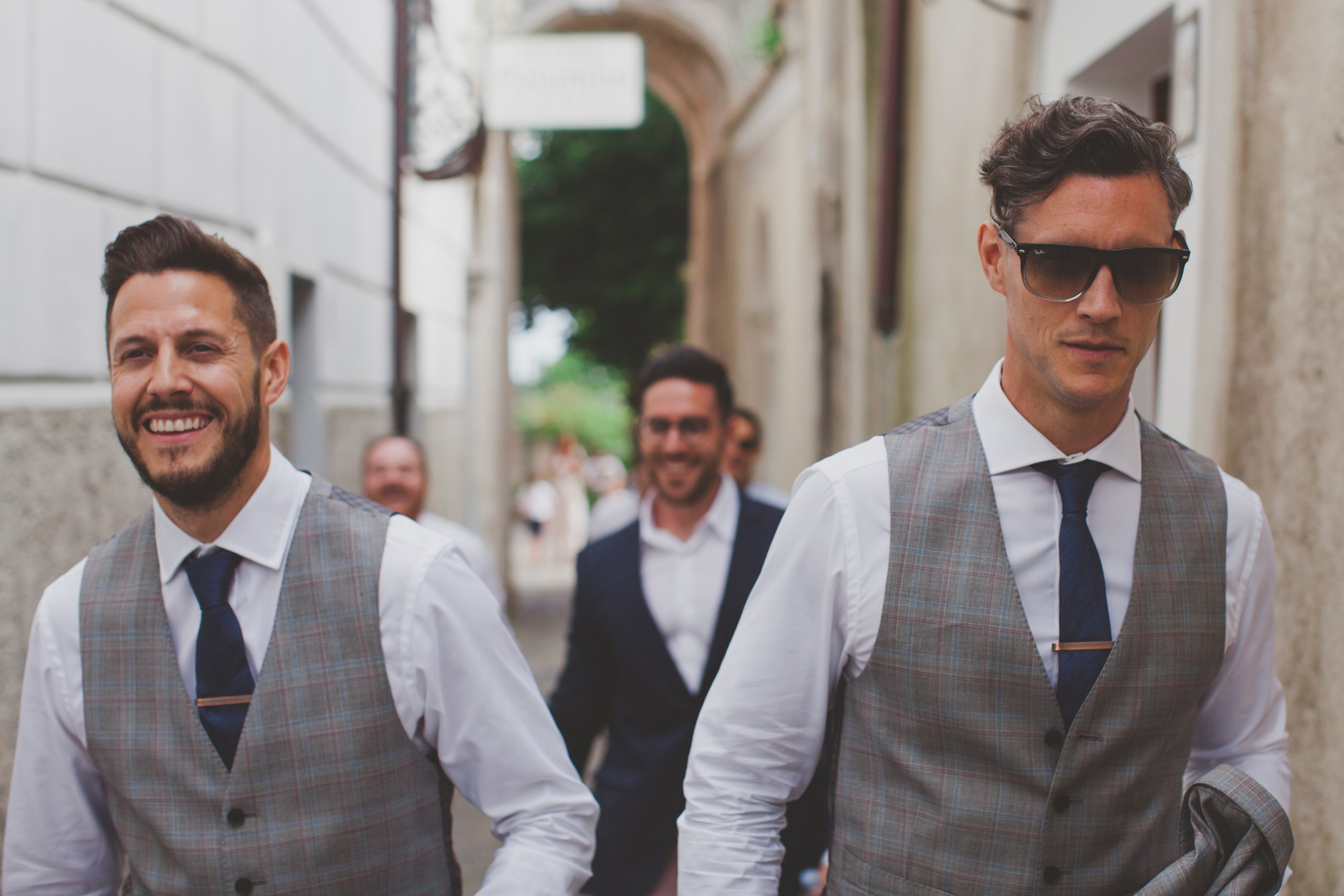groom and best men walking in ravello