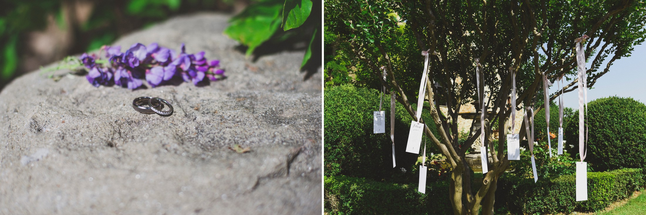 collage wedding rings and table signs