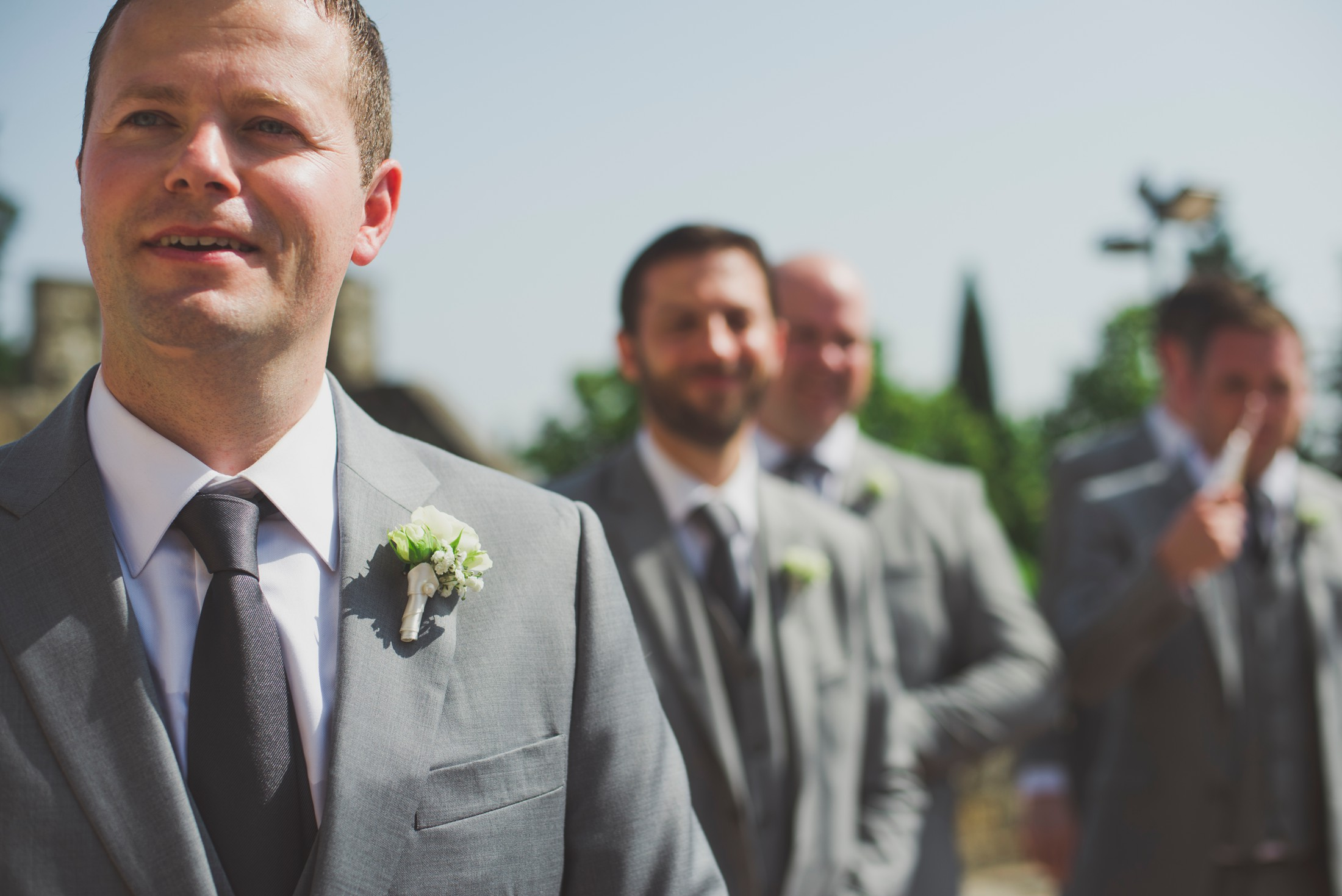groom waiting for the bride with his best men