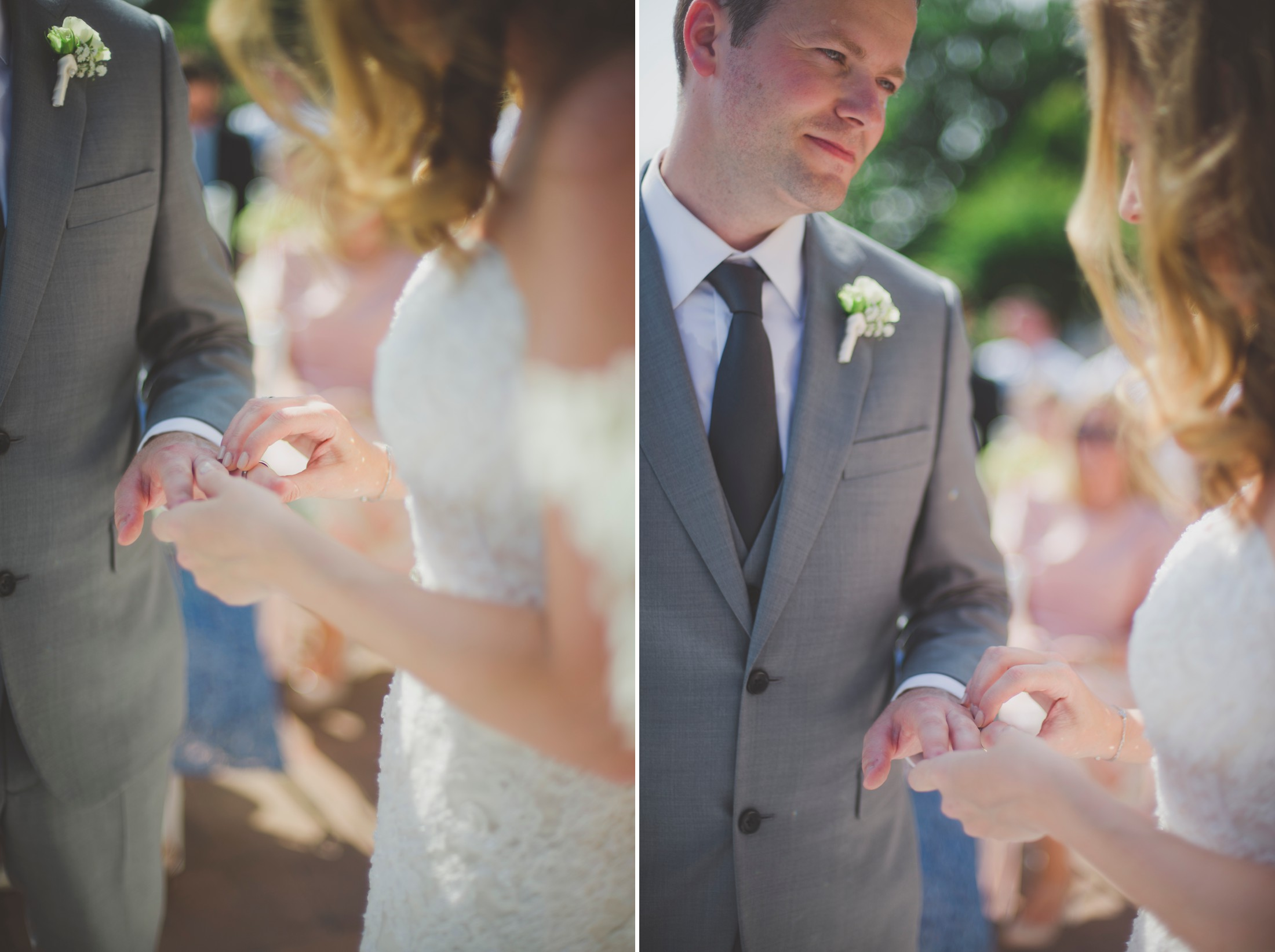 bride and groom exchanging the rings