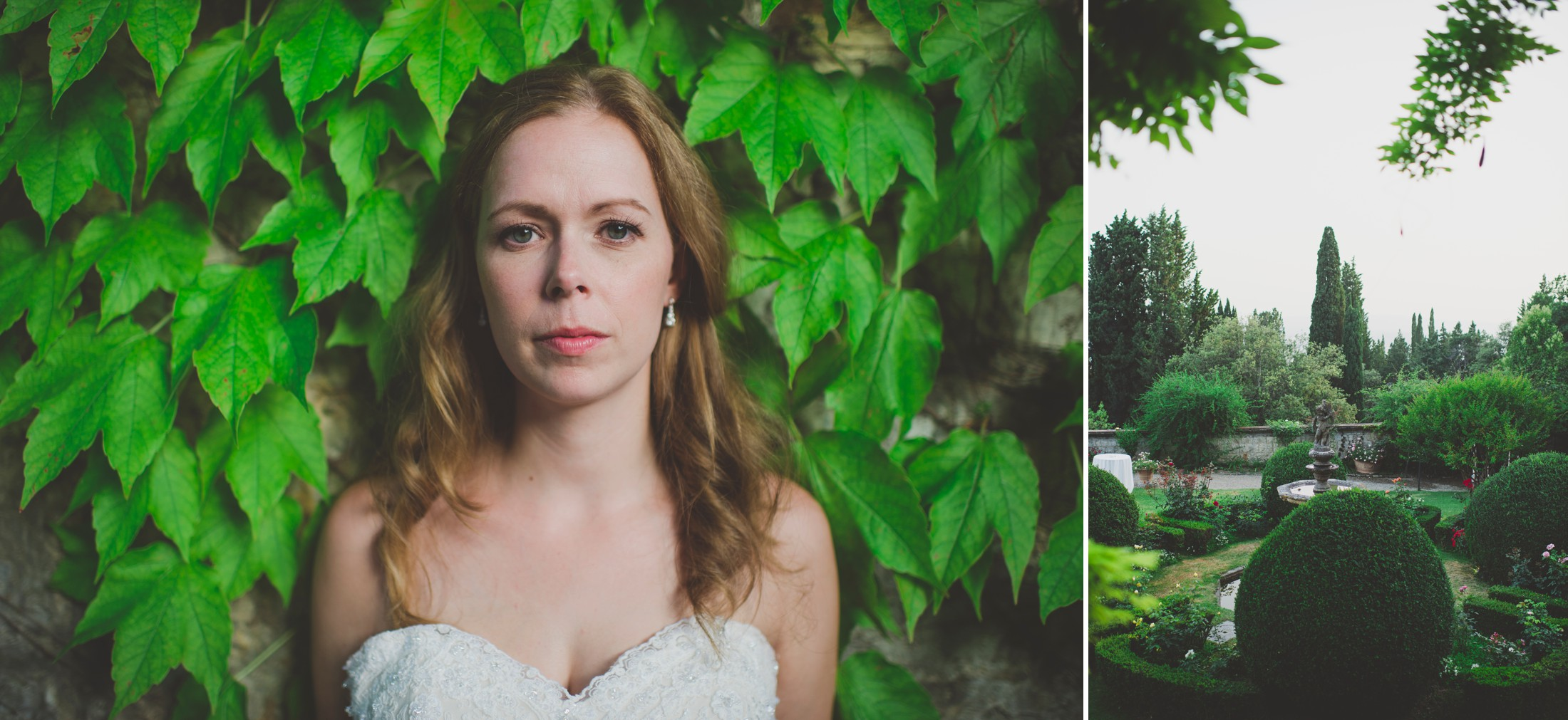 collage bride's portrait against an ivy wall