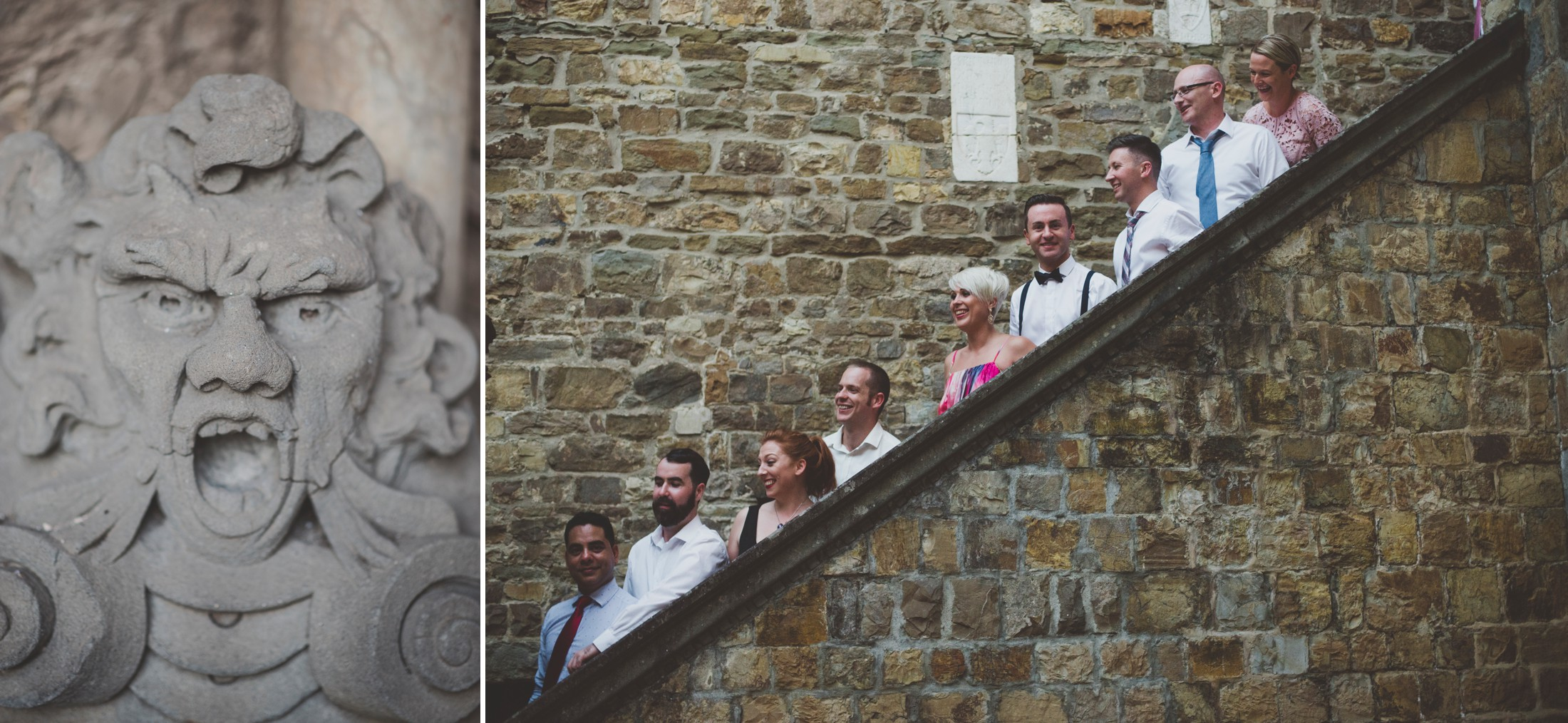 wedding group on the stair